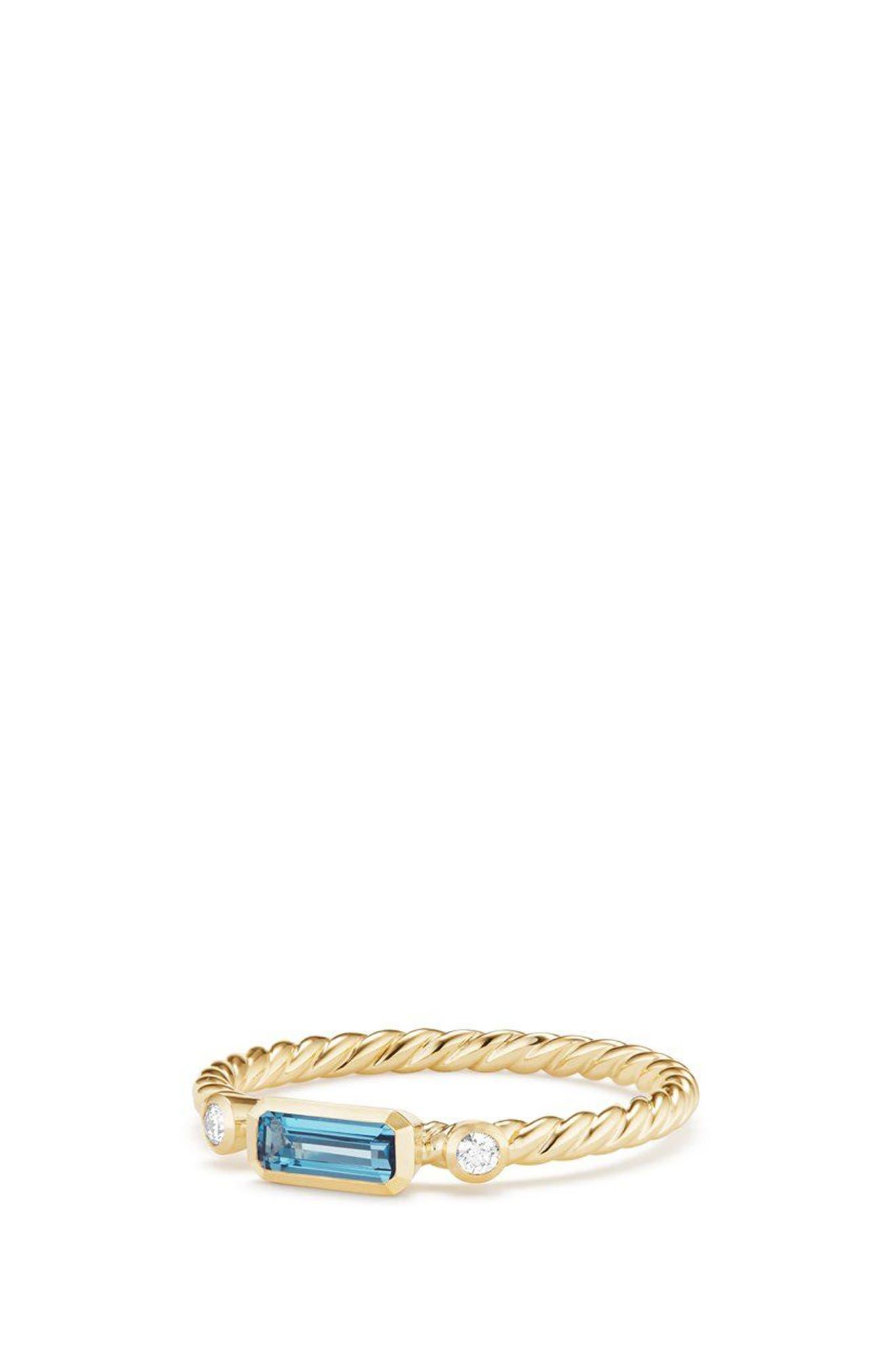 DAVID YURMAN, Novella Ring in 18K Gold, Main thumbnail 1, color, GOLD/ DIAMOND/ BLUE TOPAZ