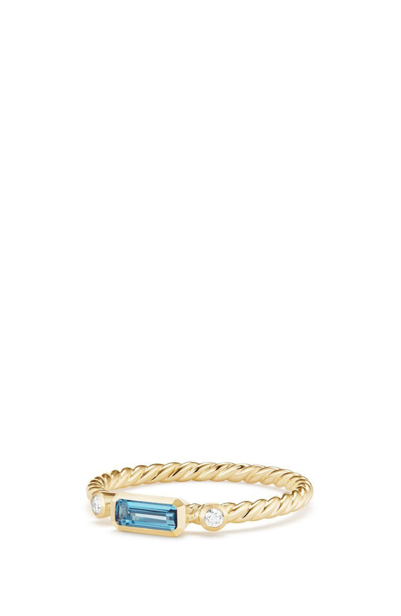 DAVID YURMAN Novella Ring in 18K Gold, Main, color, GOLD/ DIAMOND/ BLUE TOPAZ