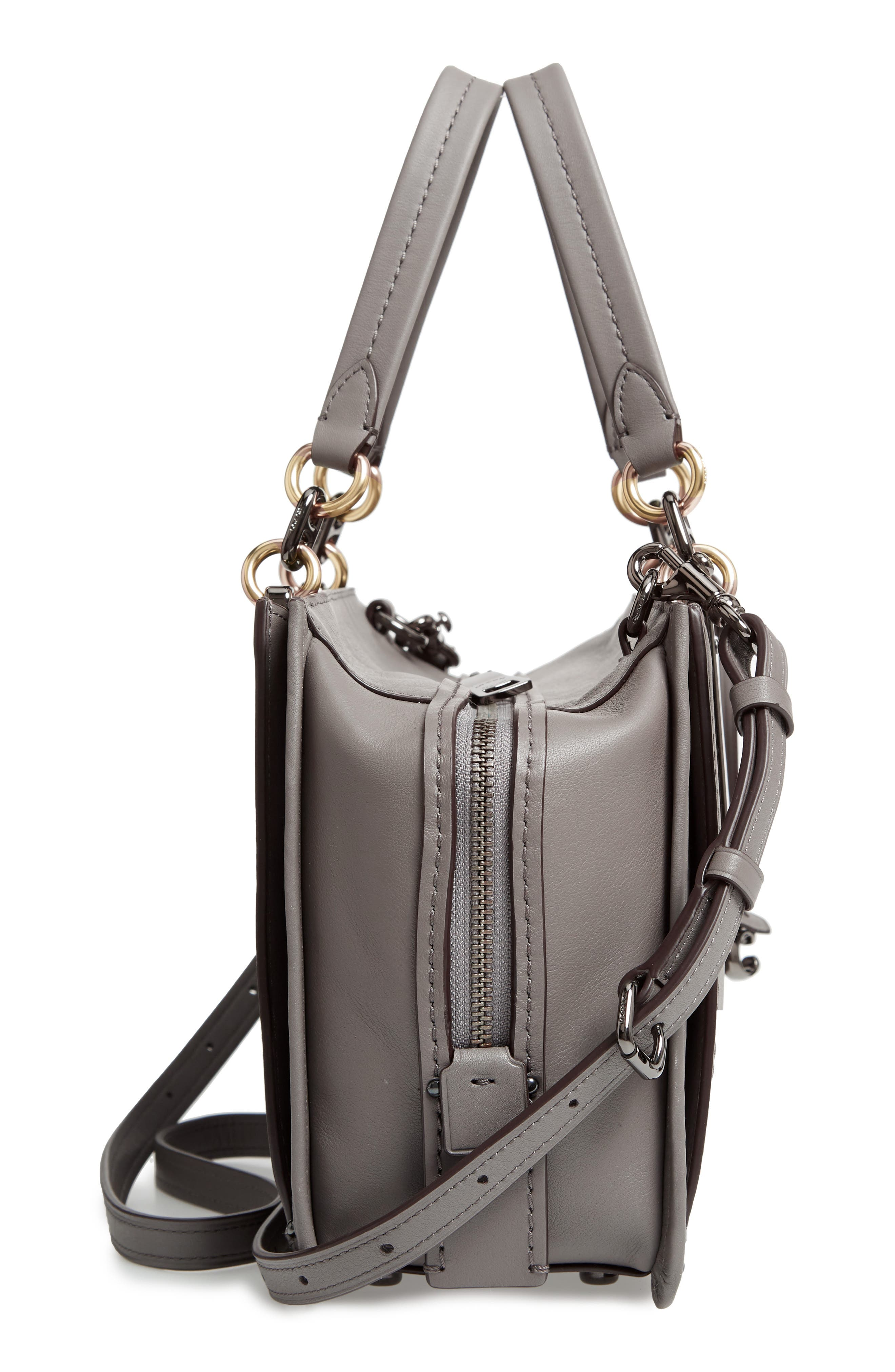 COACH, Dreamer Mixed Leather Bag, Alternate thumbnail 5, color, HEATHER GREY