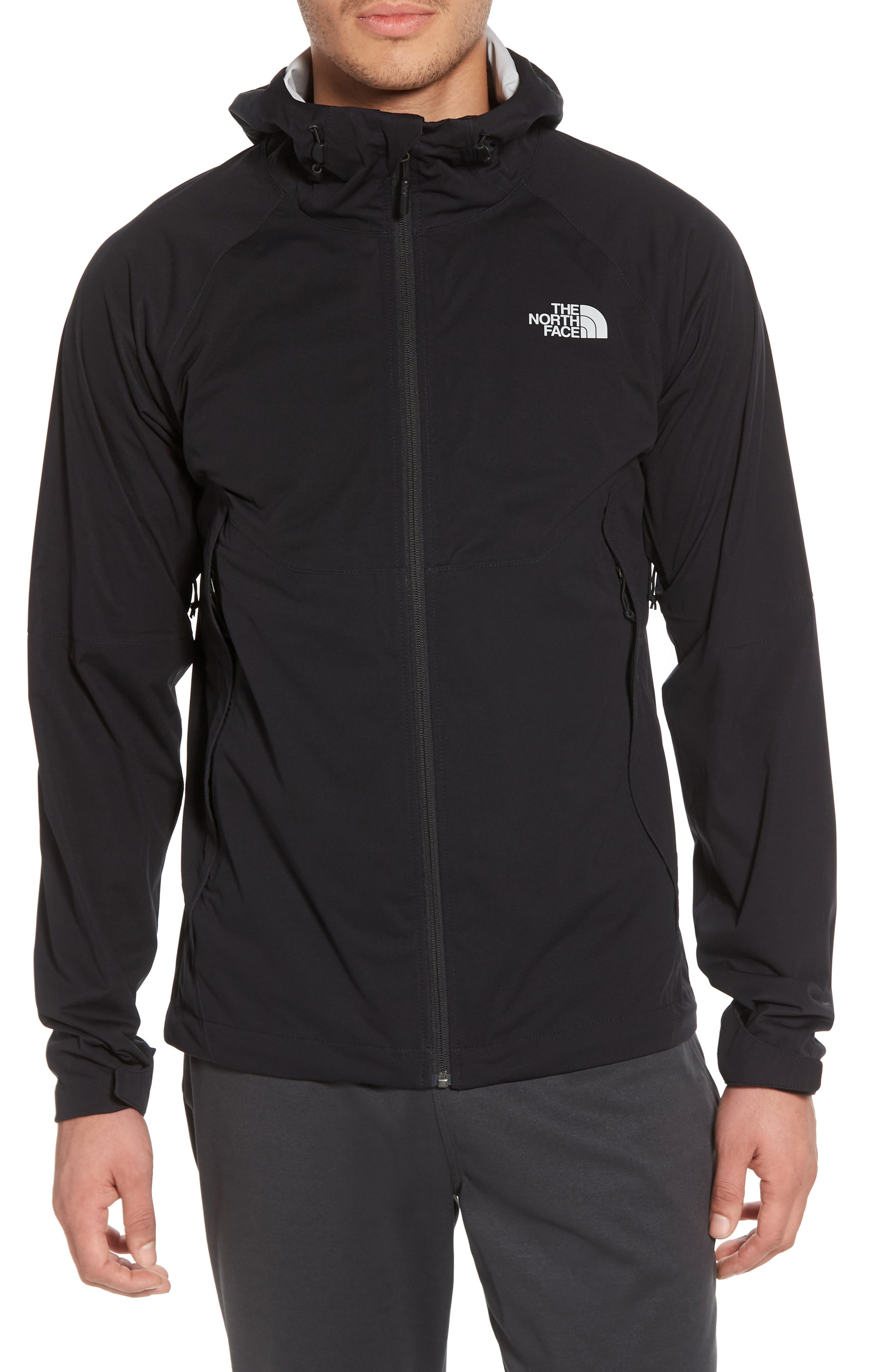 THE NORTH FACE, Allproof Stretch Hooded Rain Jacket, Alternate thumbnail 5, color, 001