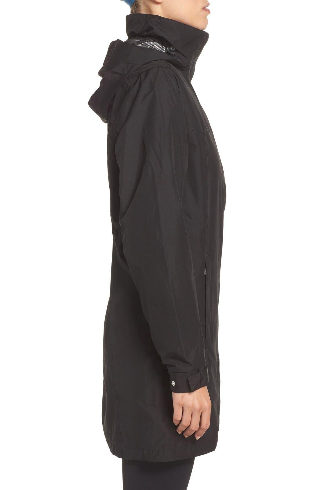 HELLY HANSEN, 'Aden' Helly Tech<sup>®</sup> Raincoat, Alternate thumbnail 6, color, BLACK
