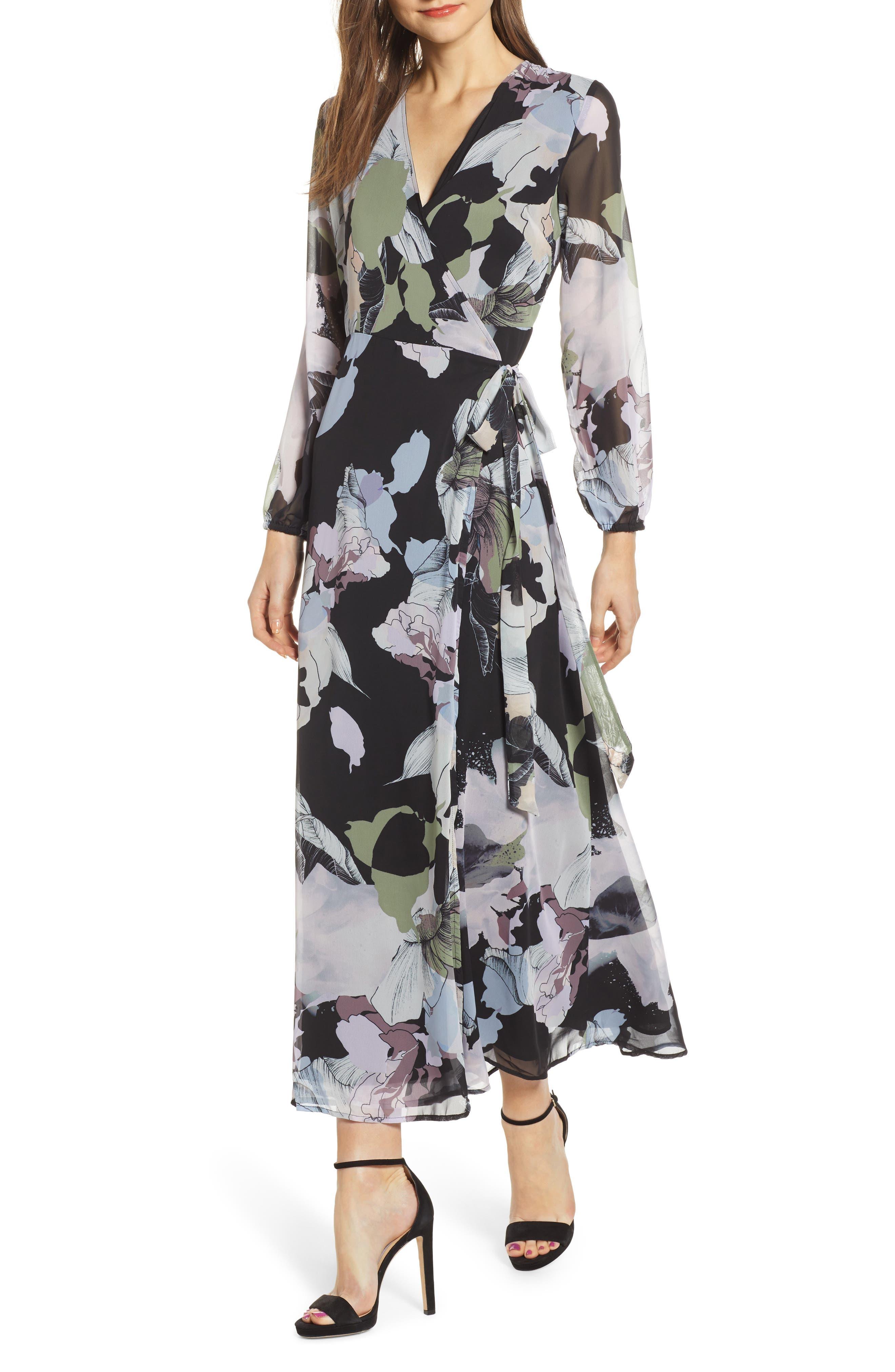 Love, Fire Floral Print Long Sleeve Maxi Wrap Dress, Black