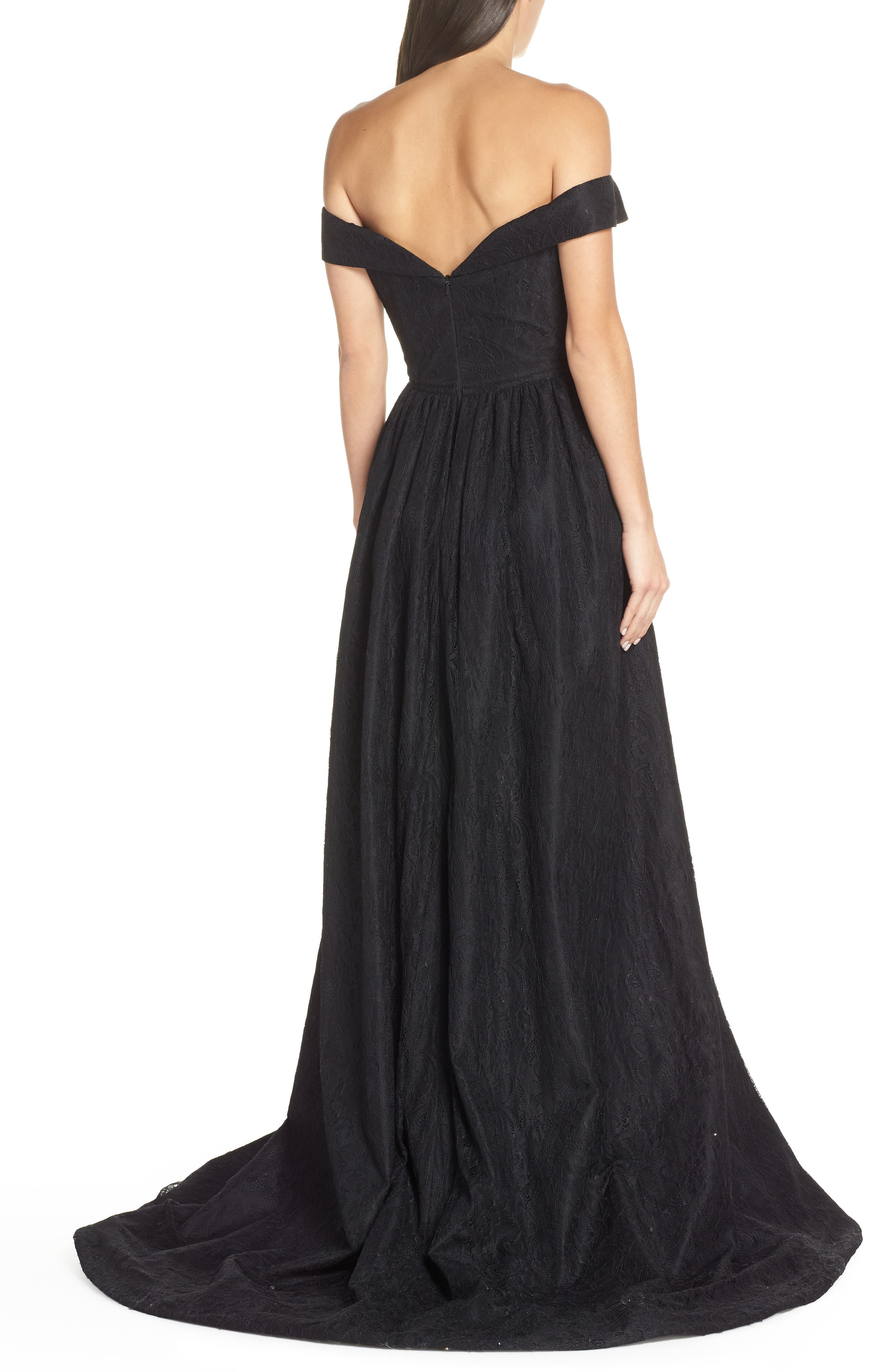 MAC DUGGAL, Off the Shoulder Lace Evening Dress, Alternate thumbnail 2, color, BLACK