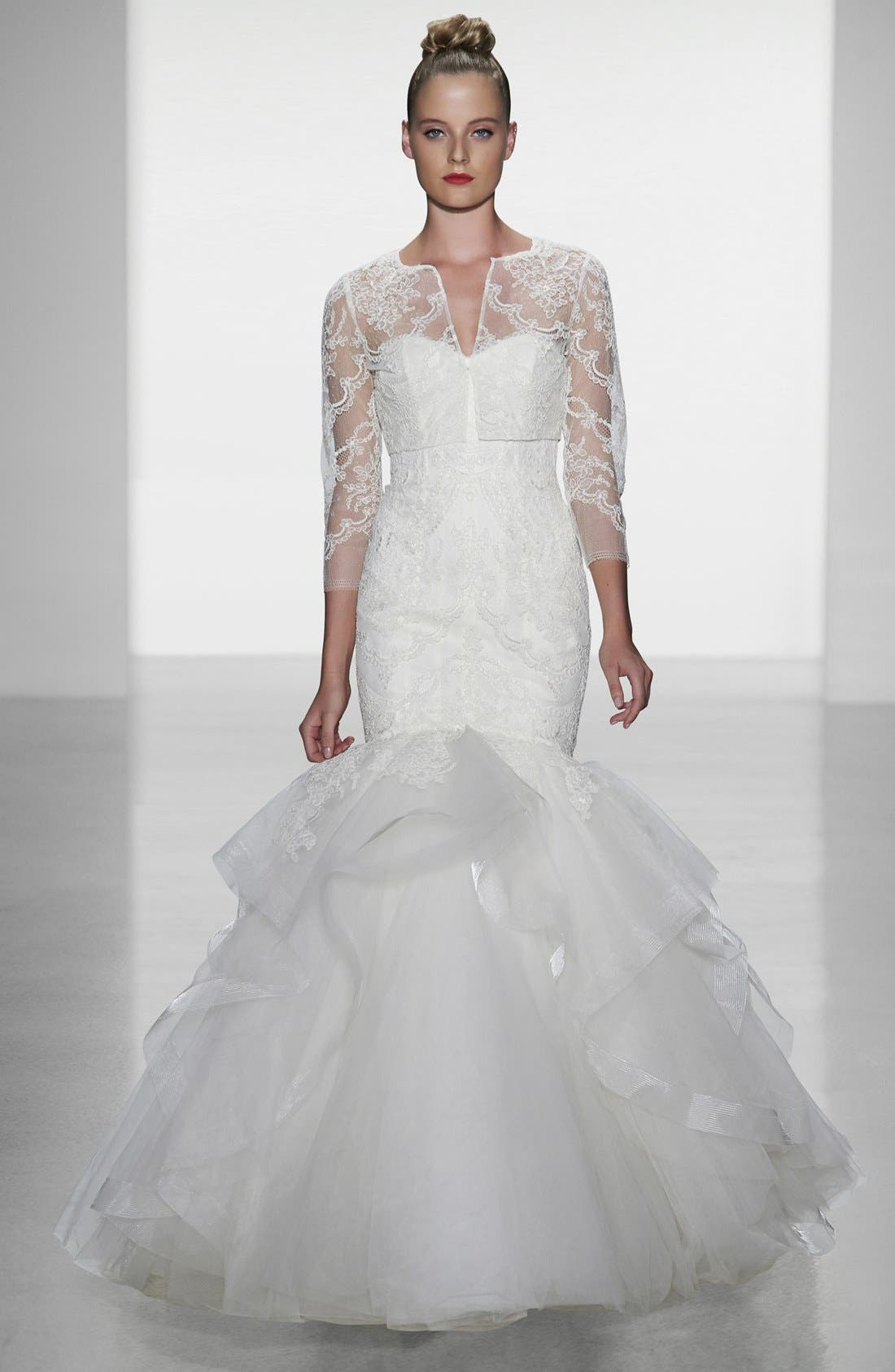 AMSALE, Carson French Lace & Tulle Mermaid Wedding Dress, Alternate thumbnail 5, color, 900