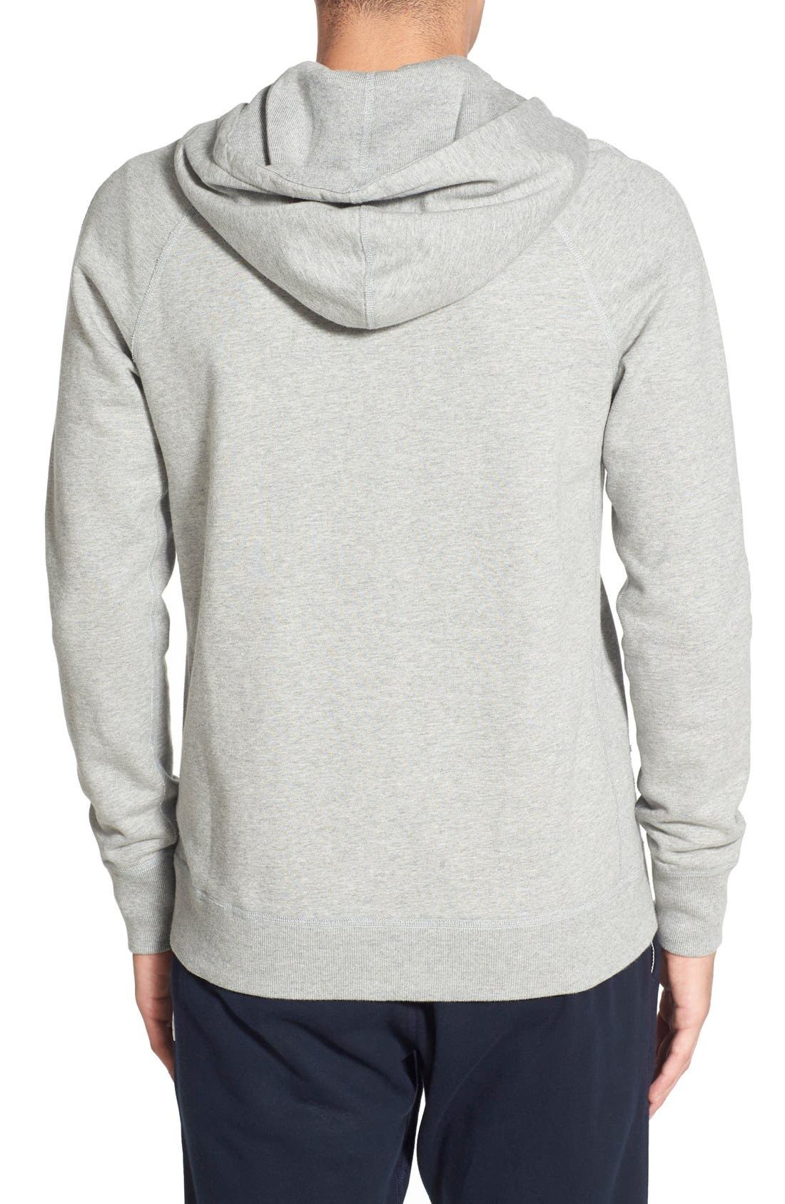 REIGNING CHAMP, Trim Fit Full Zip Hoodie, Alternate thumbnail 2, color, HEATHER GREY