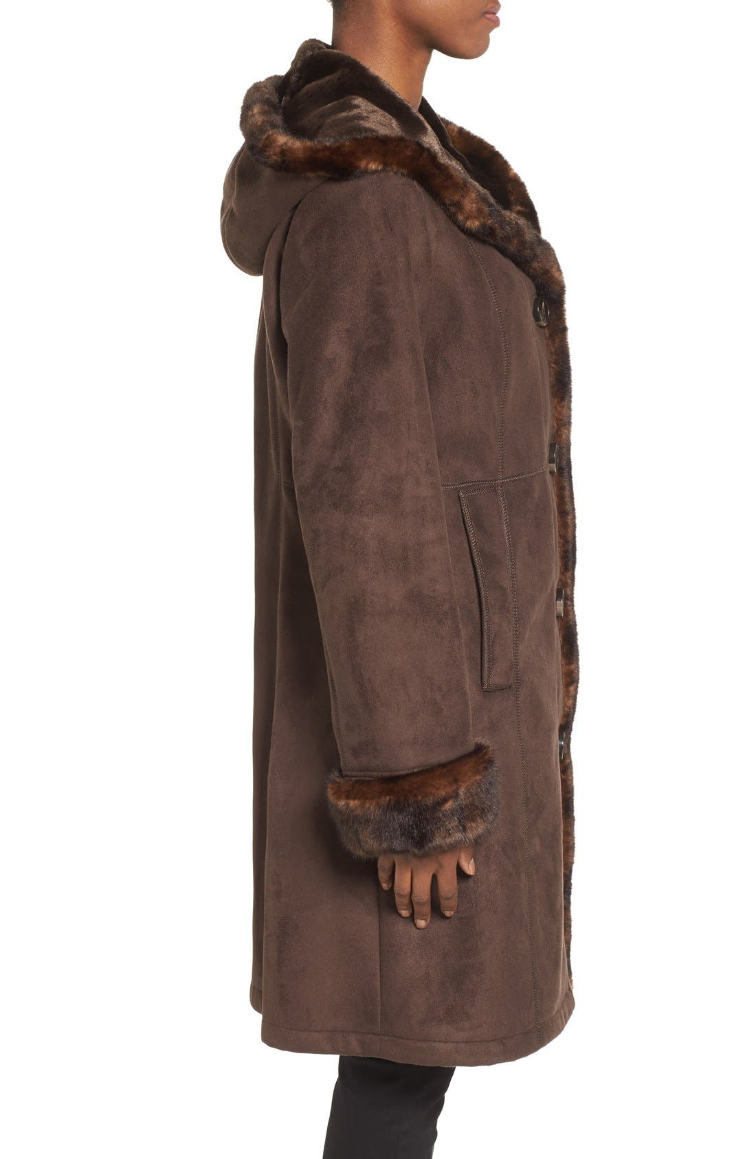 GALLERY, Hooded Faux Shearling Long A-Line Coat, Alternate thumbnail 5, color, CHOCOLATE