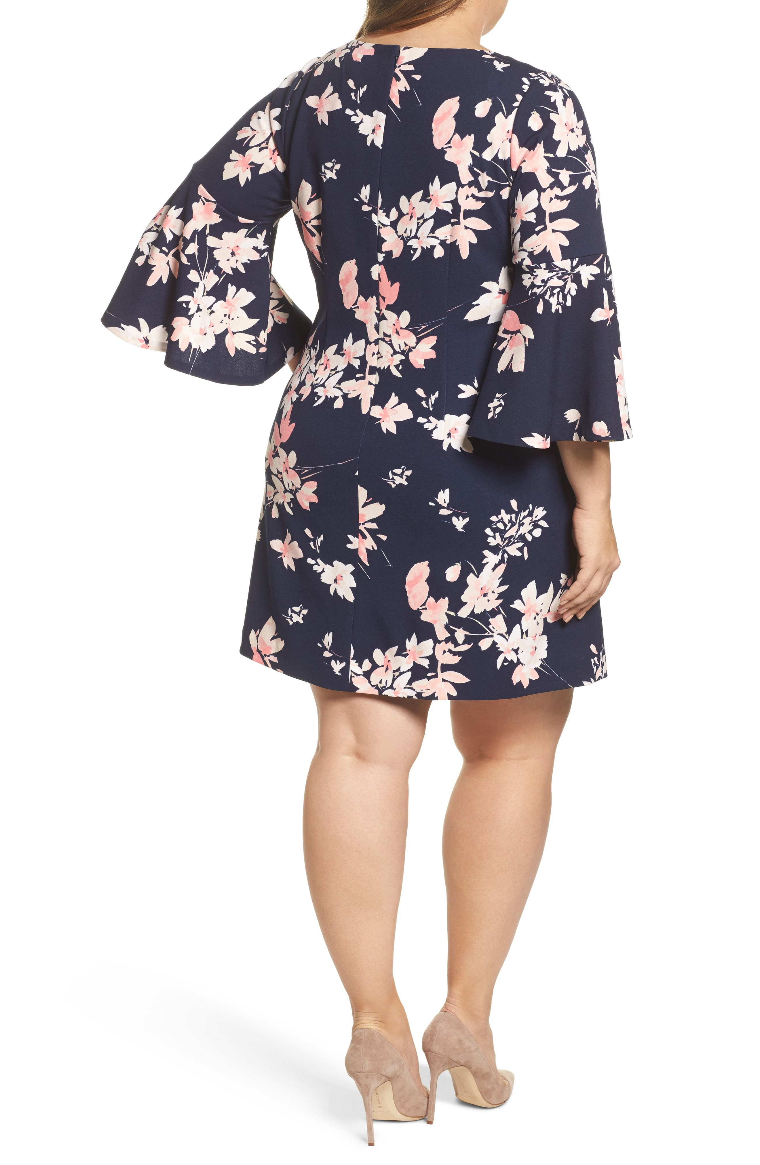 ELIZA J, Floral Print Bell Sleeve Shift Dress, Alternate thumbnail 2, color, NAVY/ PINK