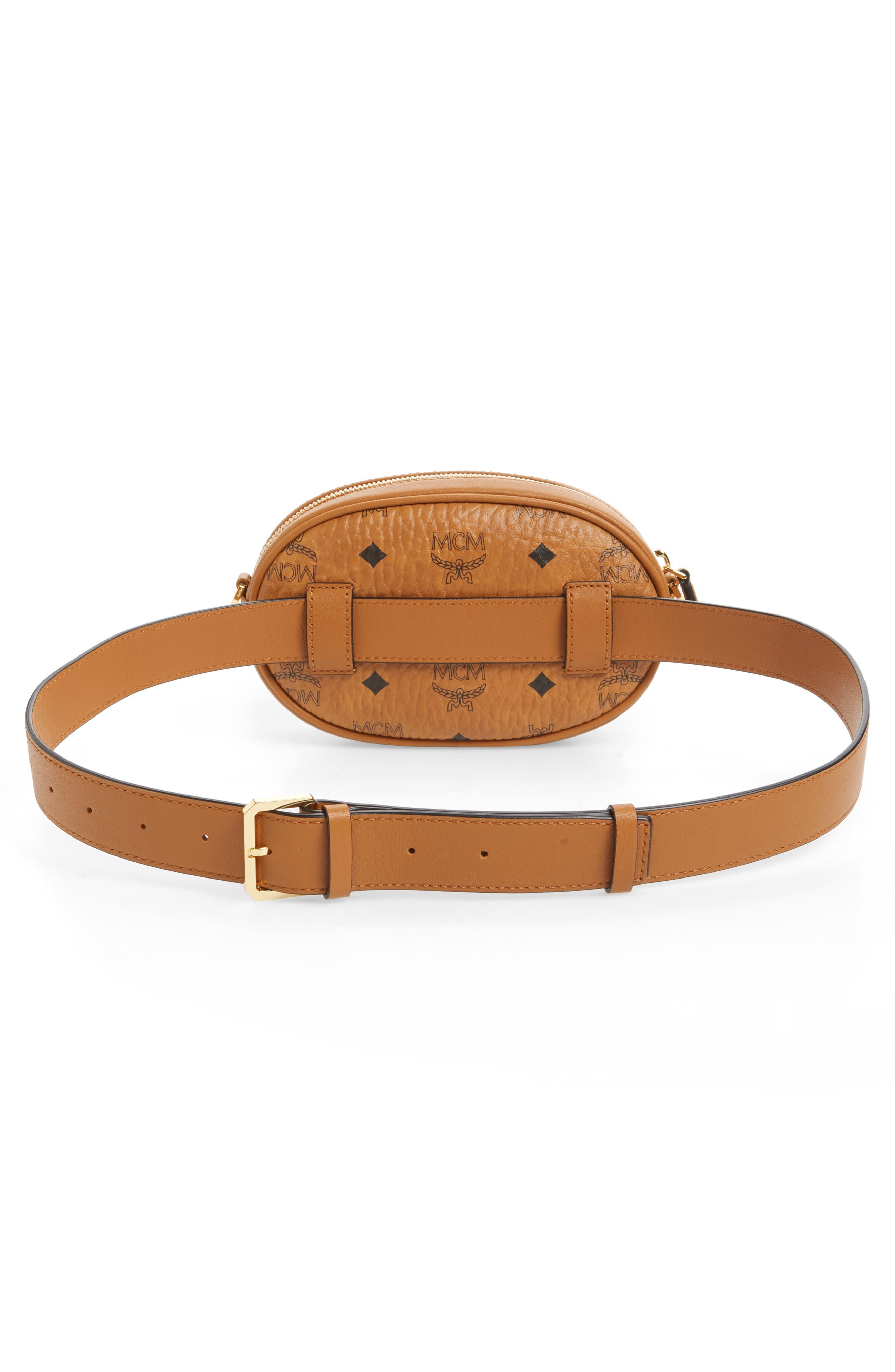 MCM, Essential Convertible Belt Bag, Alternate thumbnail 5, color, COGNAC