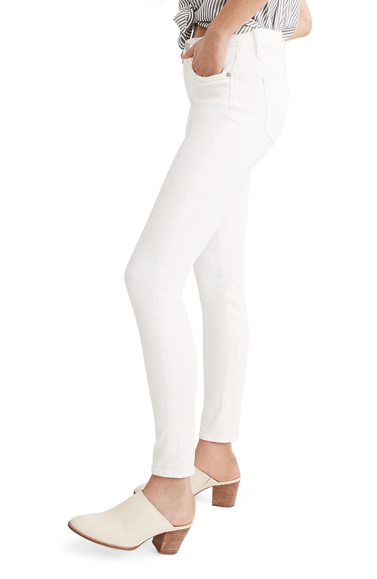 MADEWELL, 9-Inch High Waist Skinny Jeans, Alternate thumbnail 4, color, PURE WHITE