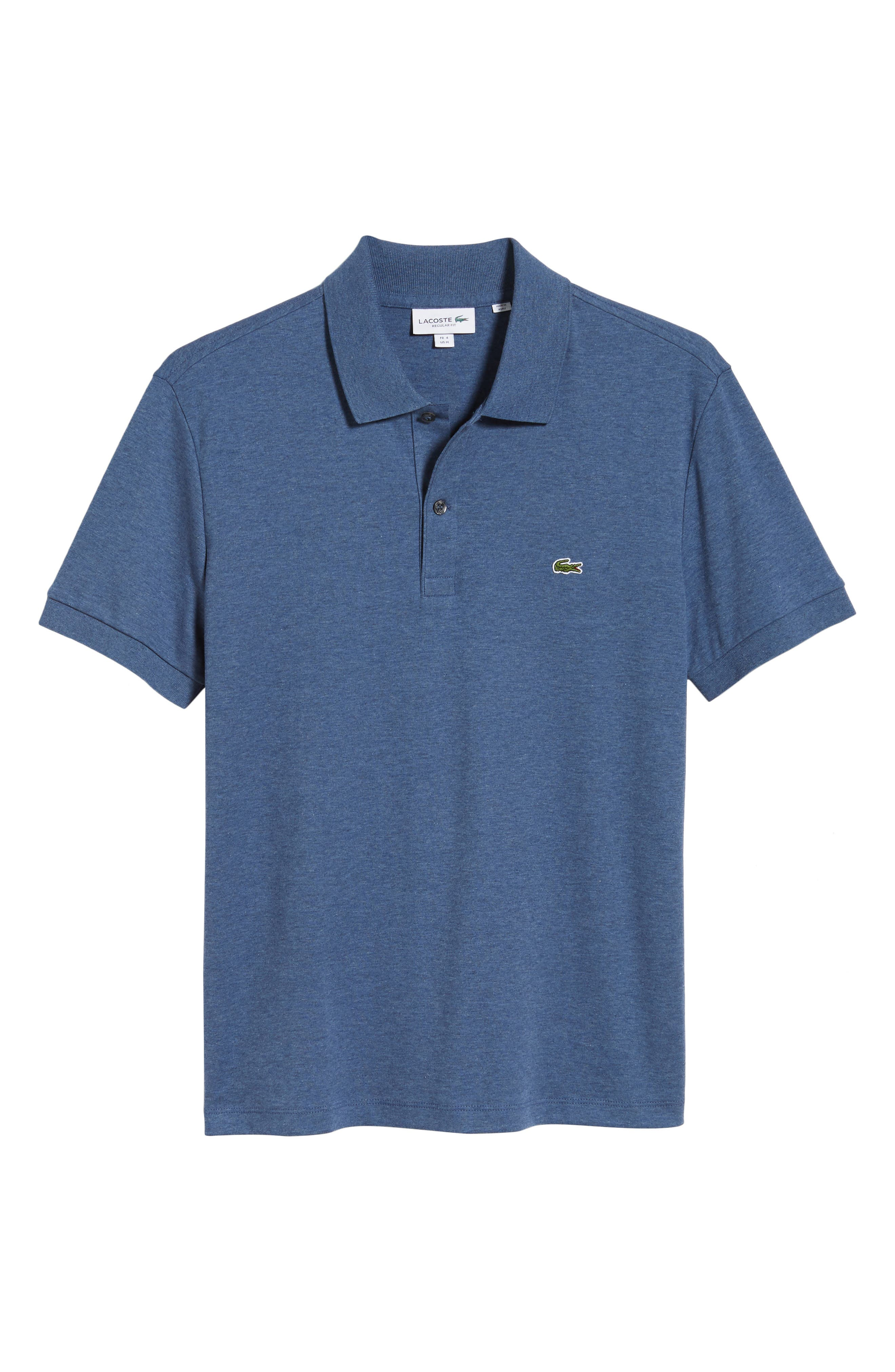 LACOSTE, Jersey Interlock Regular Fit Polo, Alternate thumbnail 6, color, CRUISE CHINE