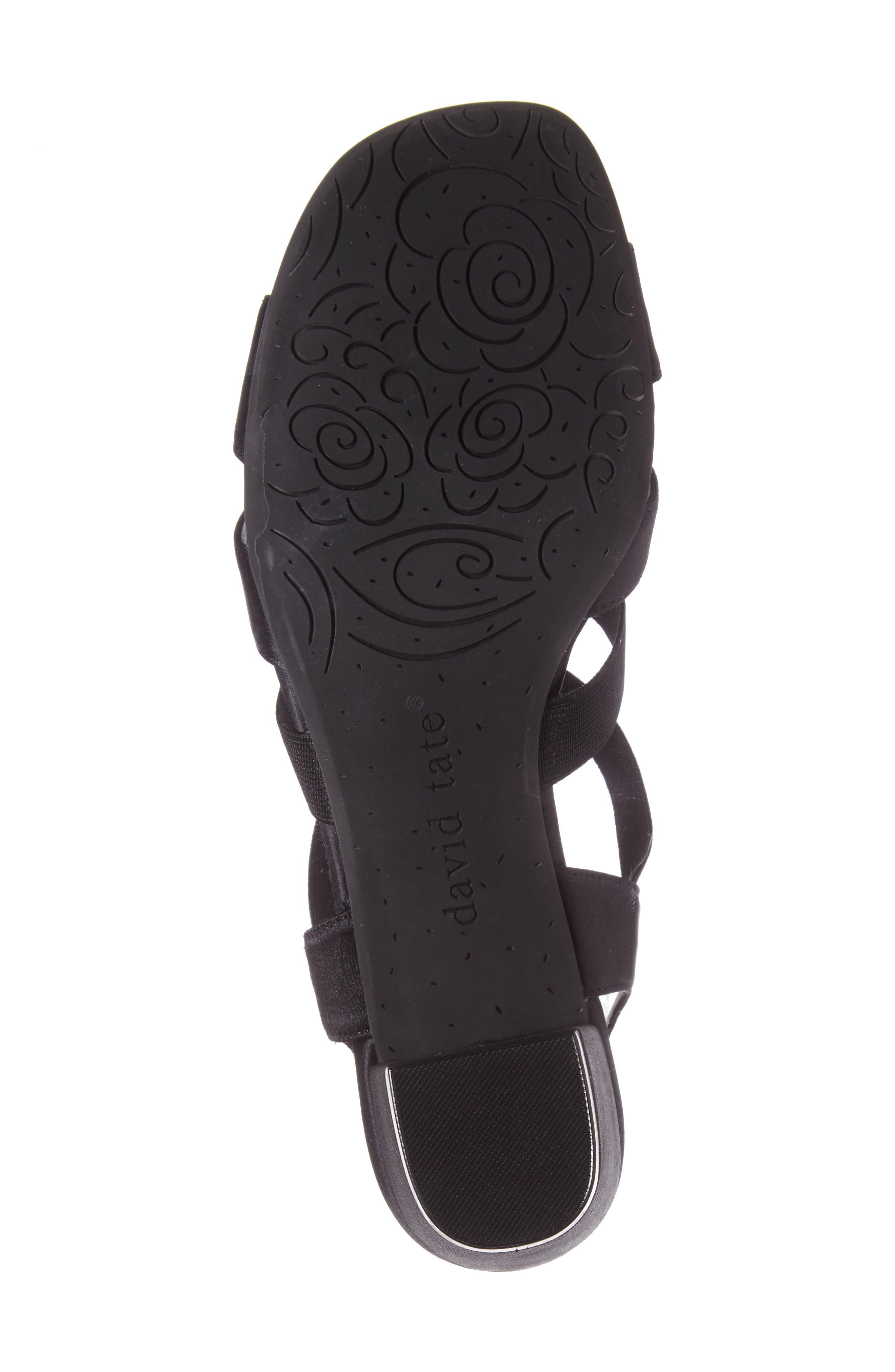 DAVID TATE, Eve Embellished Sandal, Alternate thumbnail 4, color, BLACK FABRIC