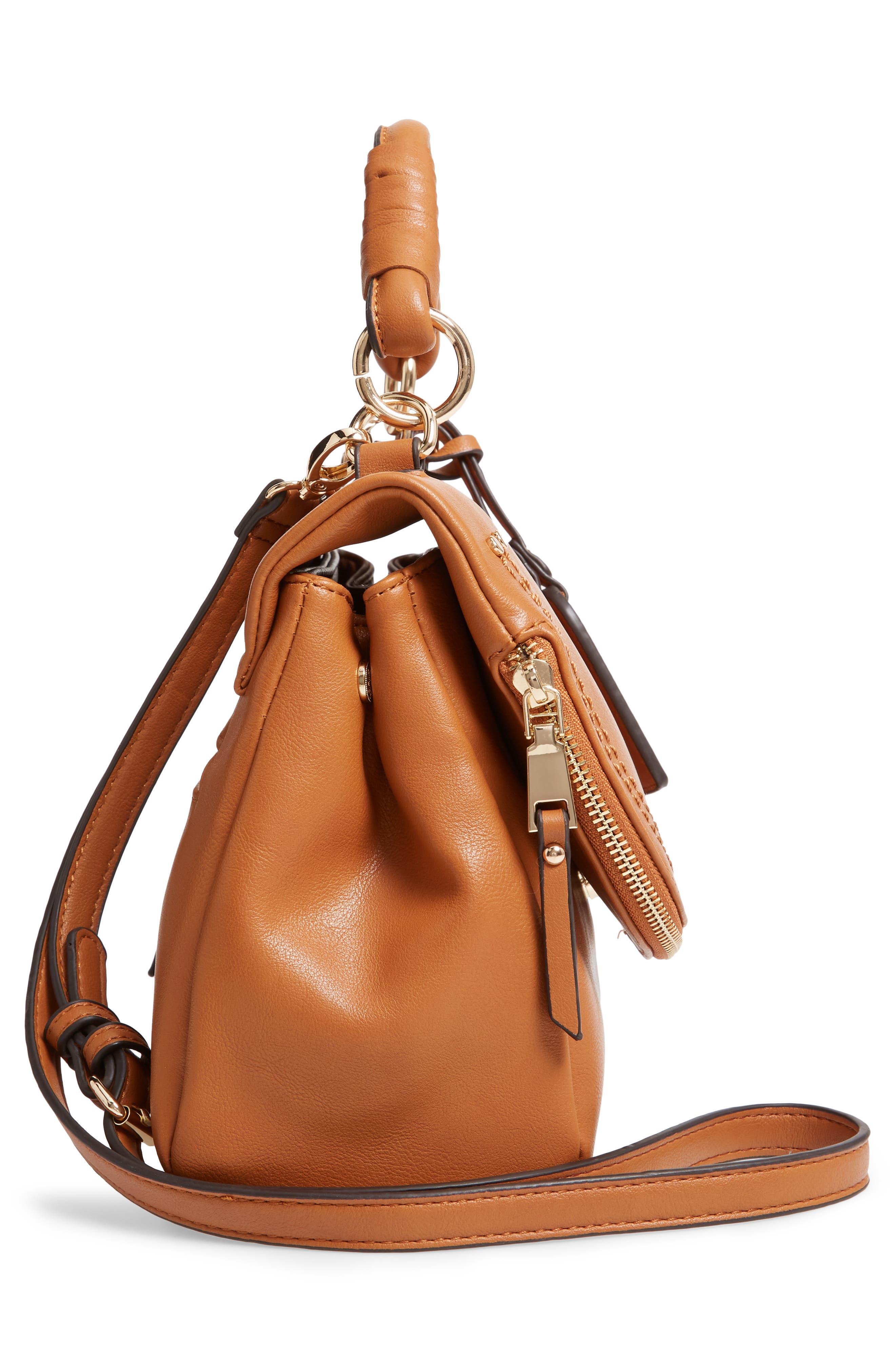 SOLE SOCIETY, Rubie Faux Leather Crossbody Bag, Alternate thumbnail 6, color, COGNAC