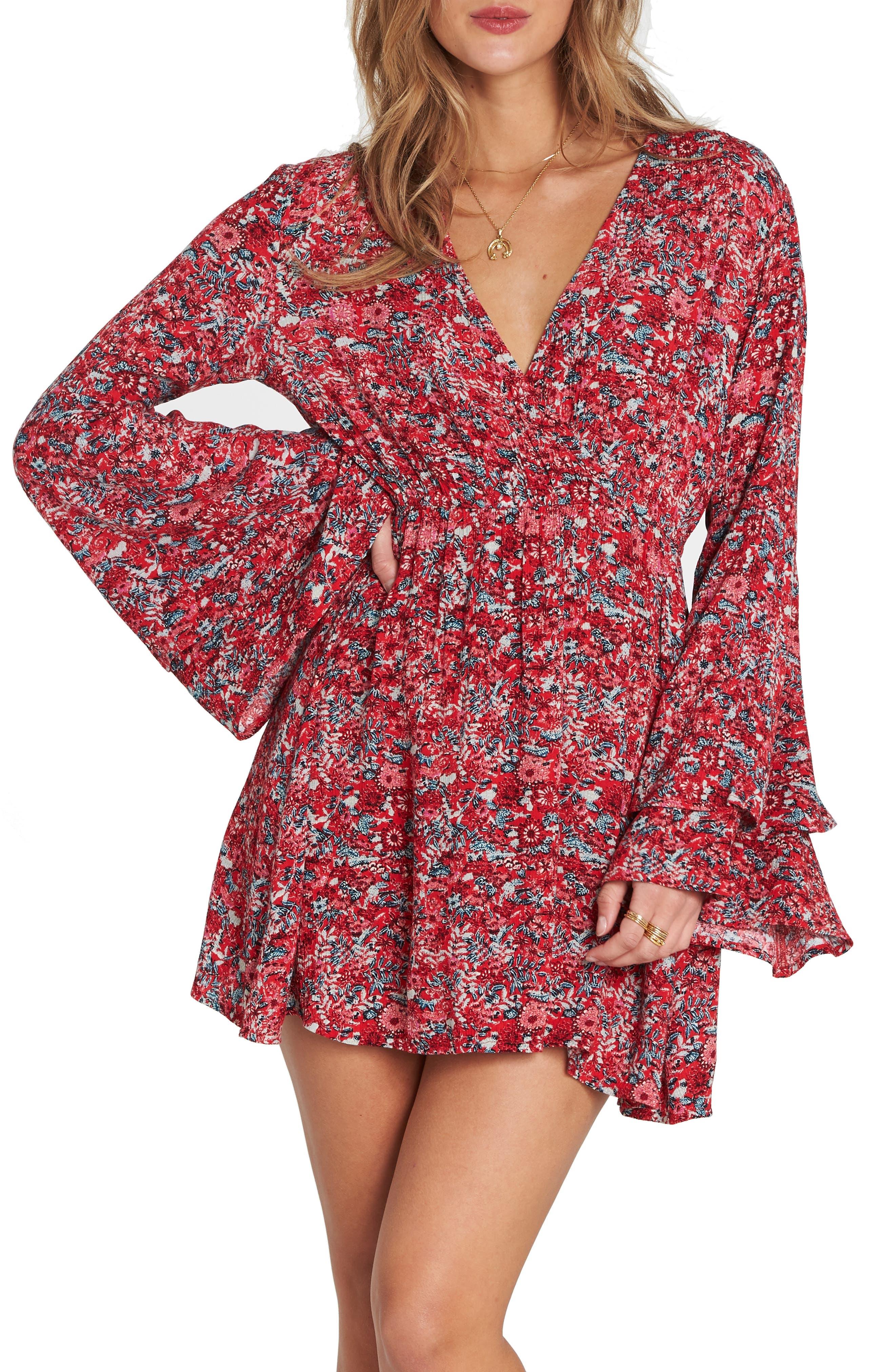 BILLABONG Night Fever Bell Sleeve Dress, Main, color, 601