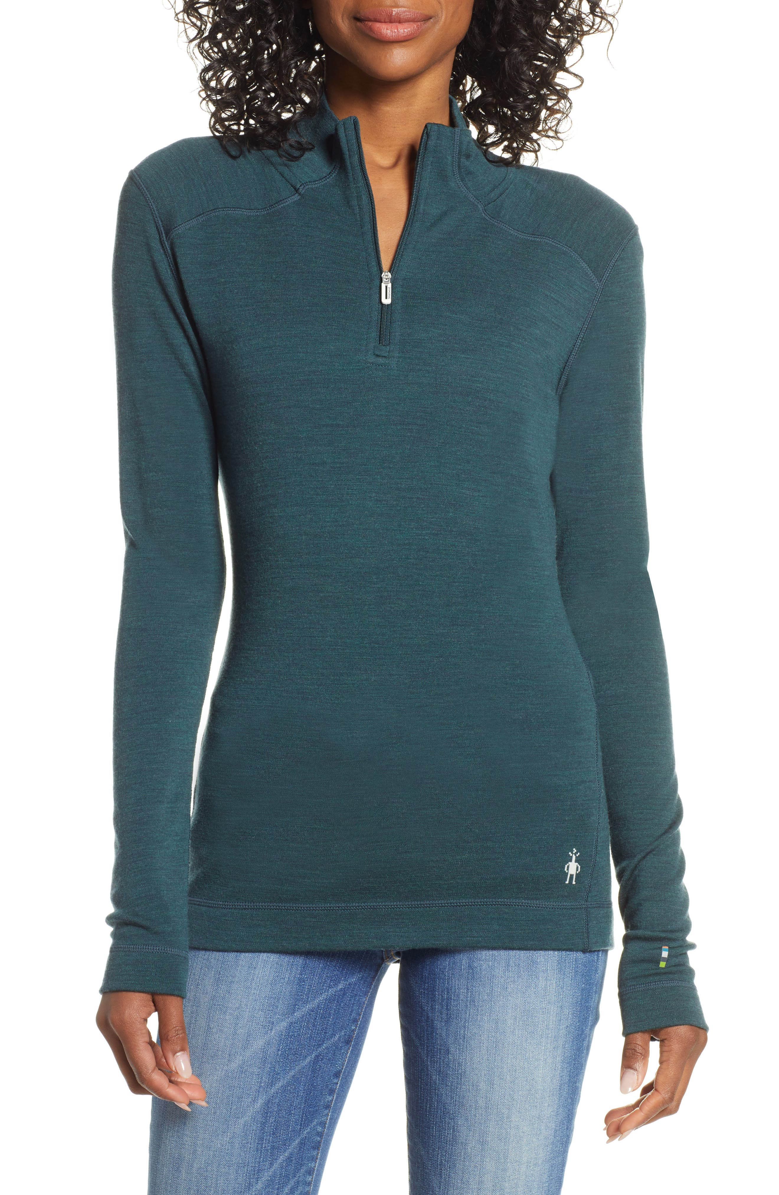 SMARTWOOL Merino 250 Quarter Zip Base Layer Top, Main, color, LOCHNESS HEATHER