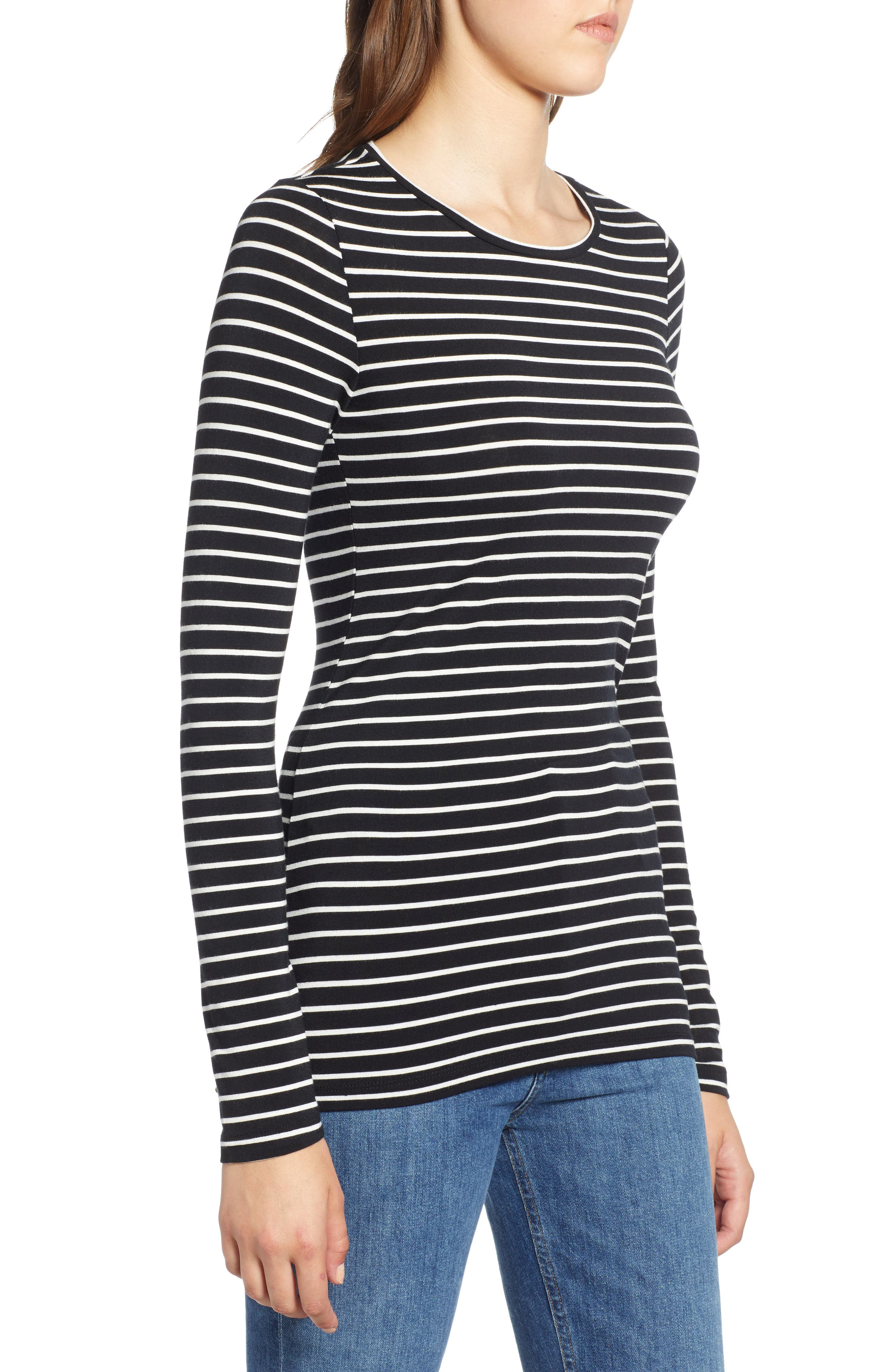HALOGEN<SUP>®</SUP>, Long Sleeve Modal Blend Tee, Alternate thumbnail 4, color, BLACK- IVORY ASHLEY STRIPE
