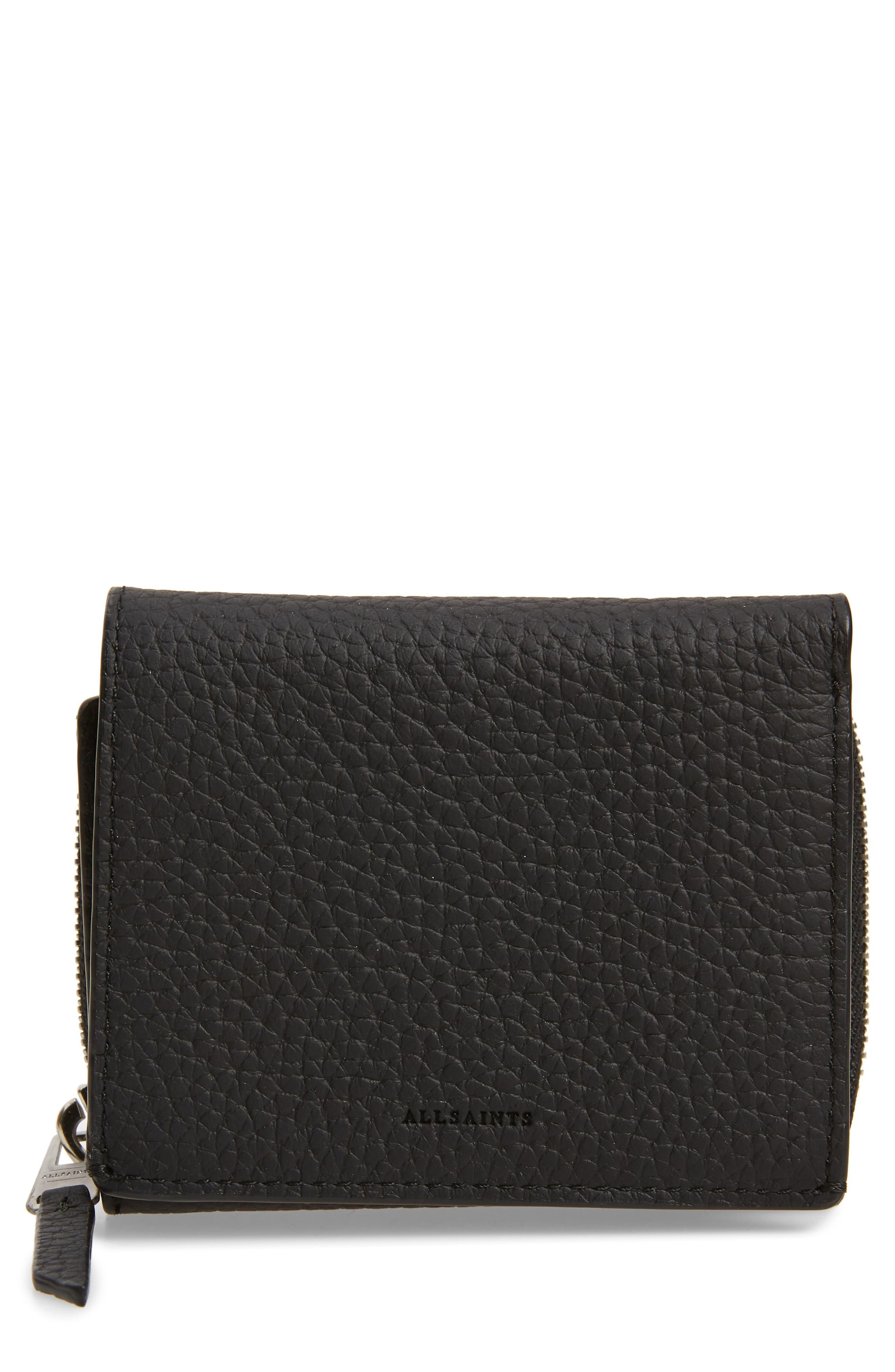 ALLSAINTS Captain Leather Trifold Wallet, Main, color, BLACK