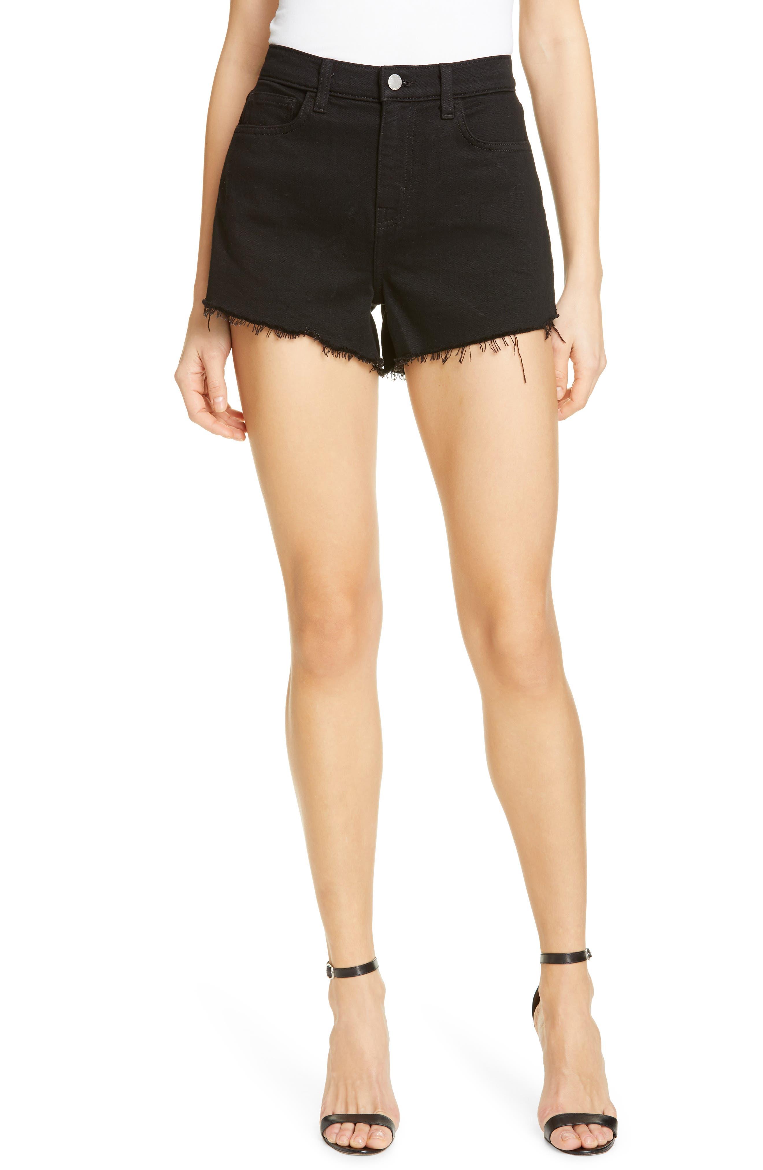 L'AGENCE Ryland High Waist Denim Shorts, Main, color, NOIR