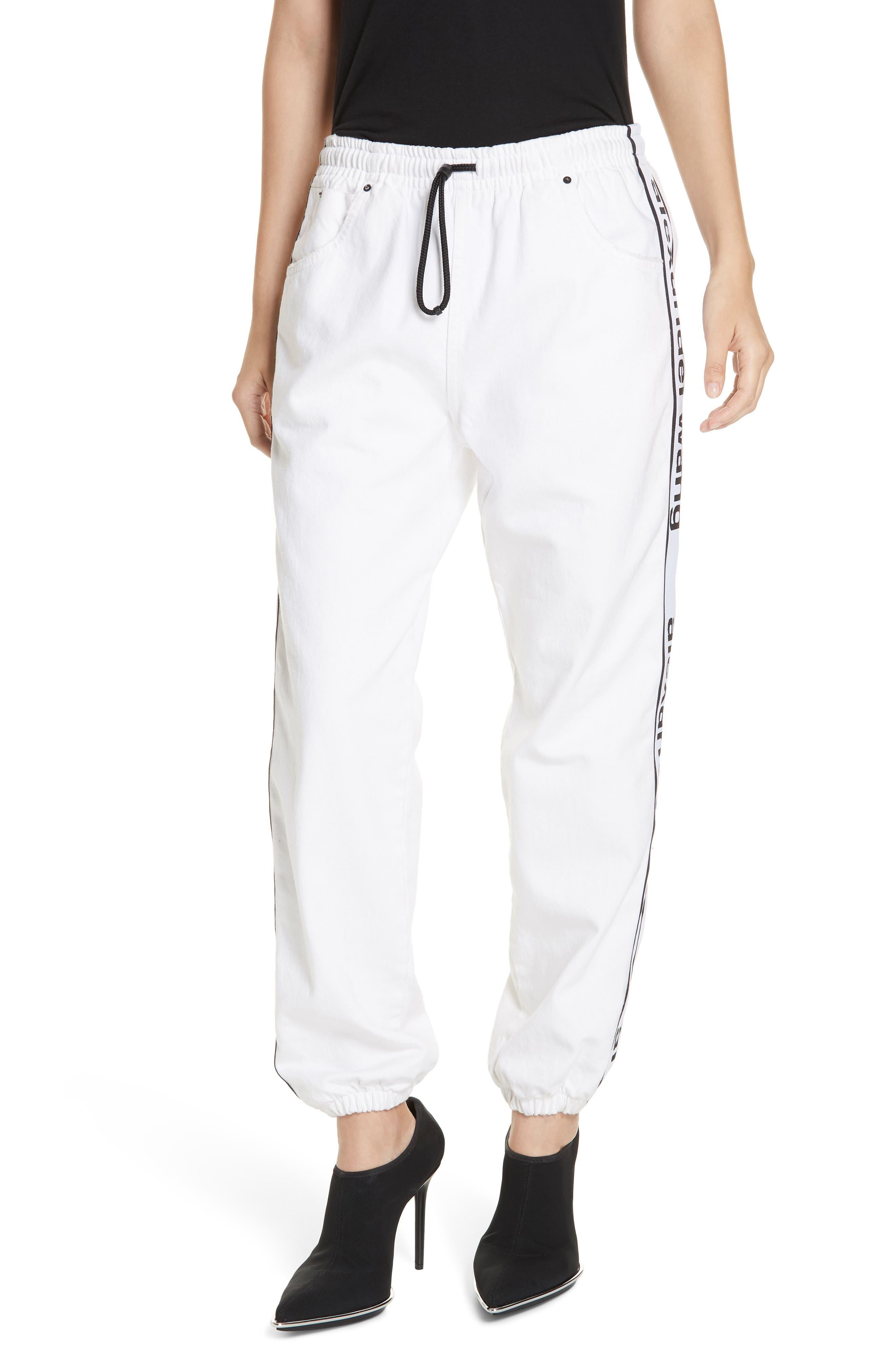 ALEXANDERWANG.T, Logo Stripe Track Pants, Main thumbnail 1, color, OPTIC WHITE