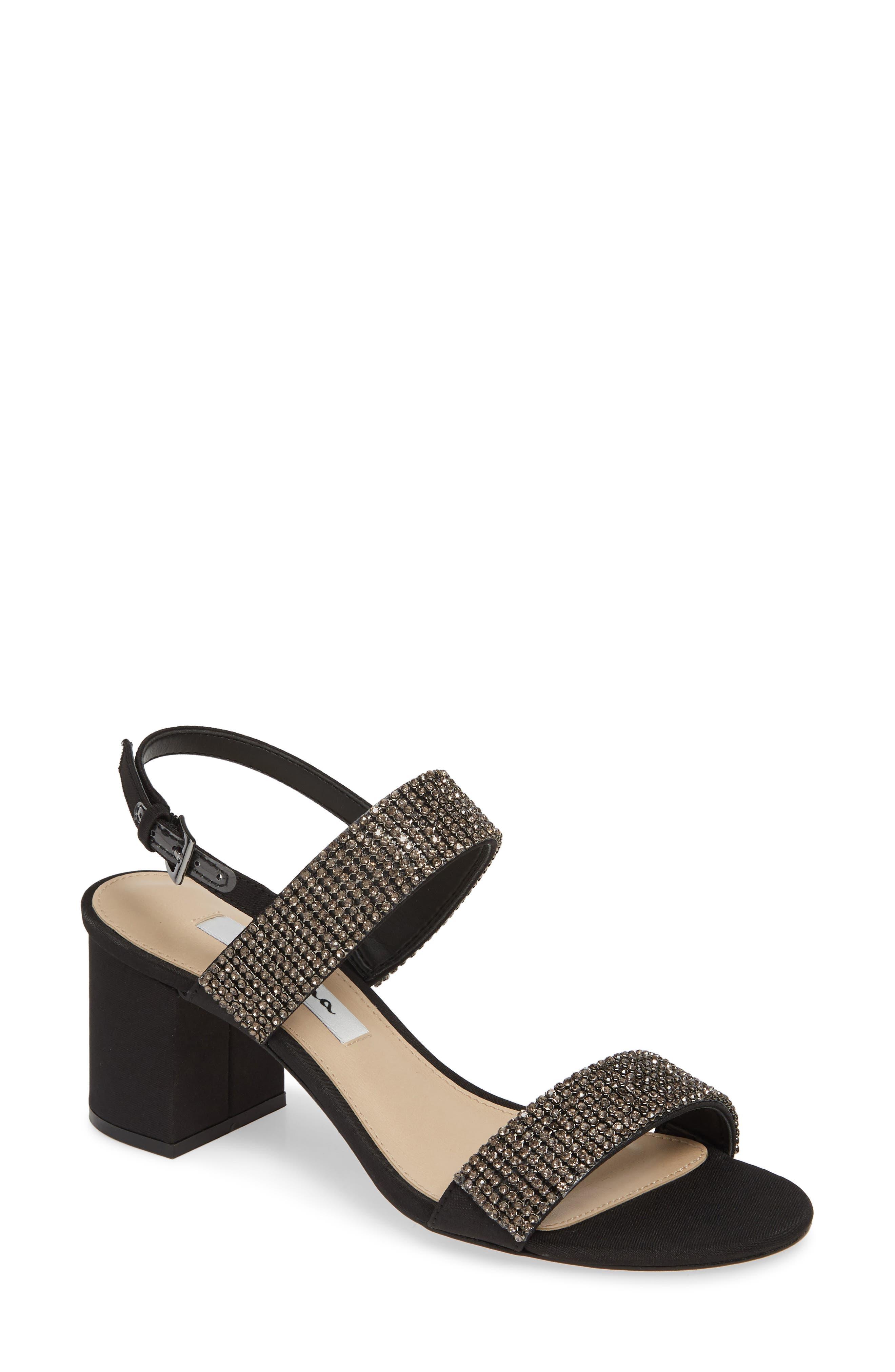 NINA, Naomi Crystal Embellished Sandal, Main thumbnail 1, color, BLACK FABRIC