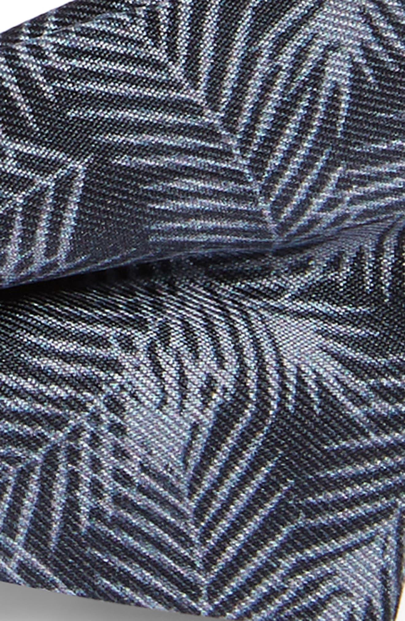 NORDSTROM, Palm Leaves Silk Bow Tie, Alternate thumbnail 2, color, BLACK