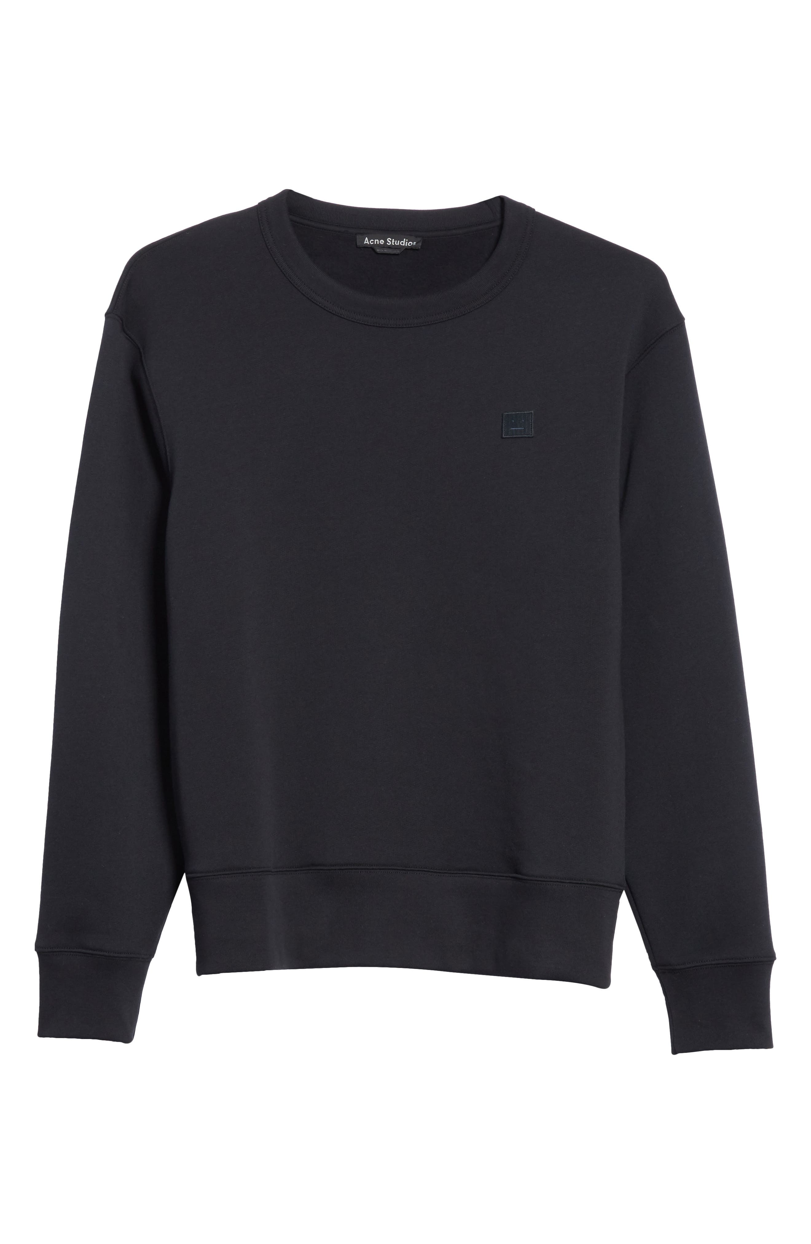 ACNE STUDIOS, Fairview Face Crewneck Sweatshirt, Alternate thumbnail 6, color, BLACK