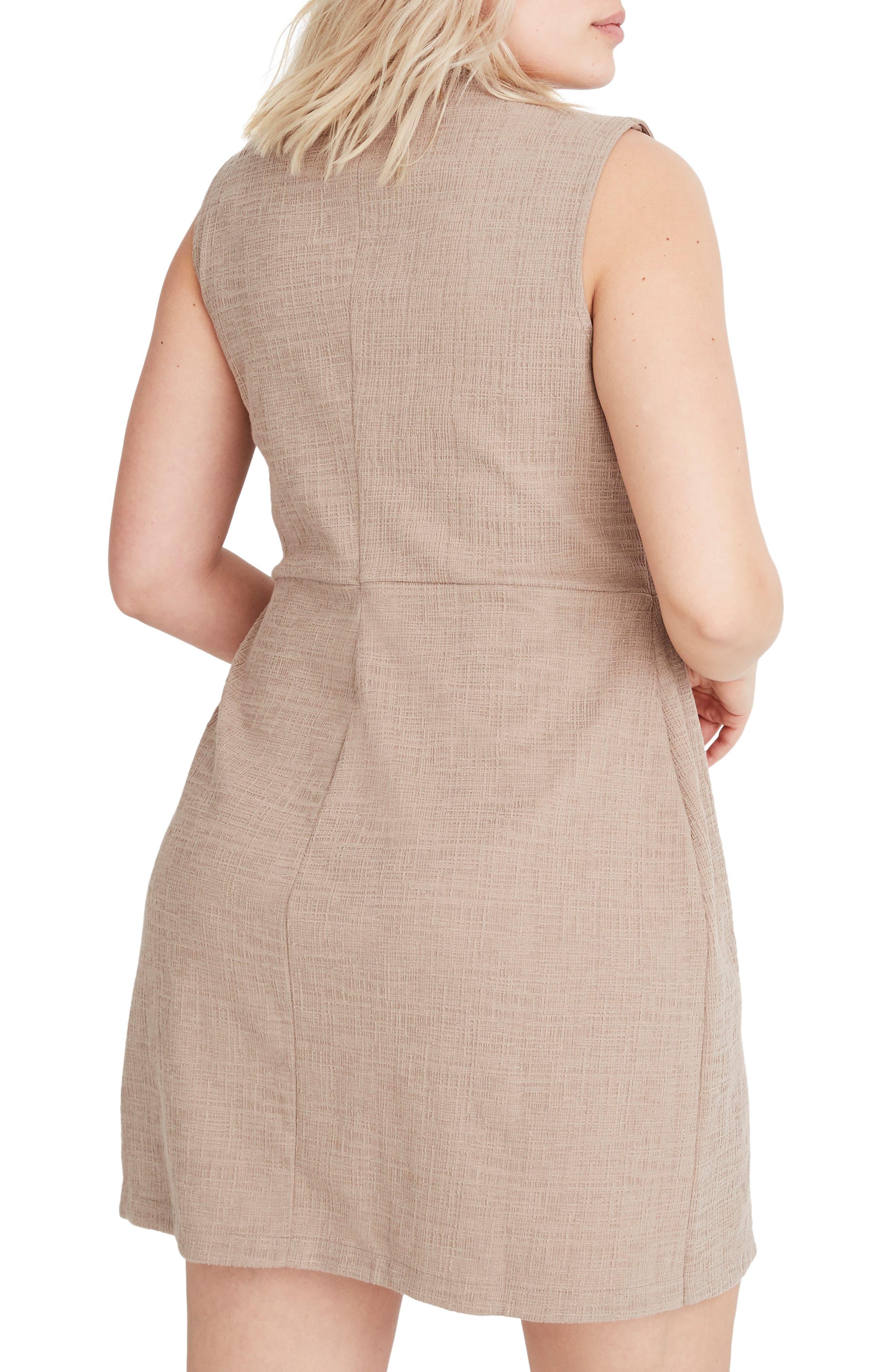 MADEWELL, Texture & Thread Side Tie Minidress, Alternate thumbnail 8, color, TELLURIDE STONE
