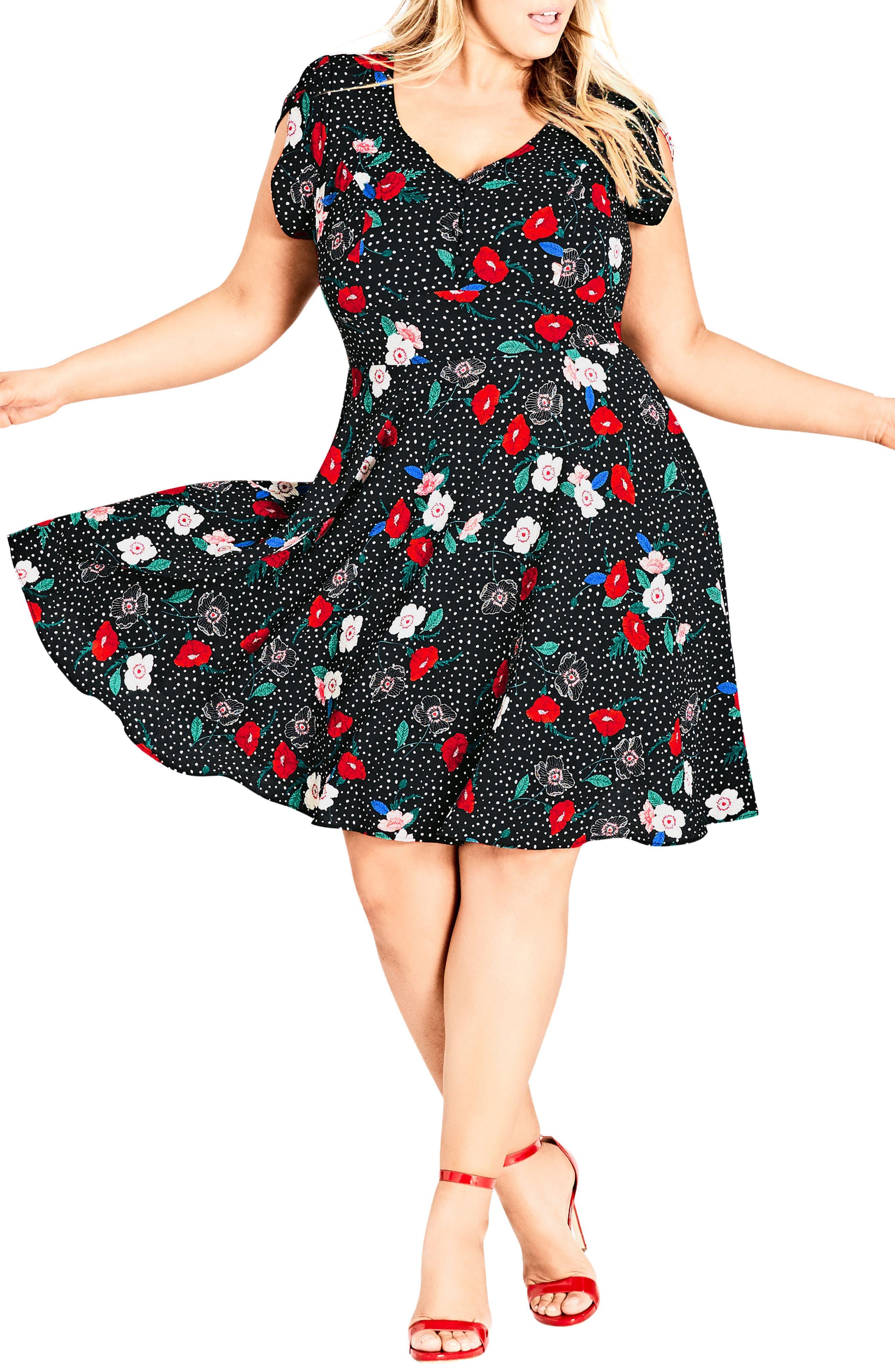 CITY CHIC, Floral Spot Dress, Alternate thumbnail 3, color, SPOT FLORAL