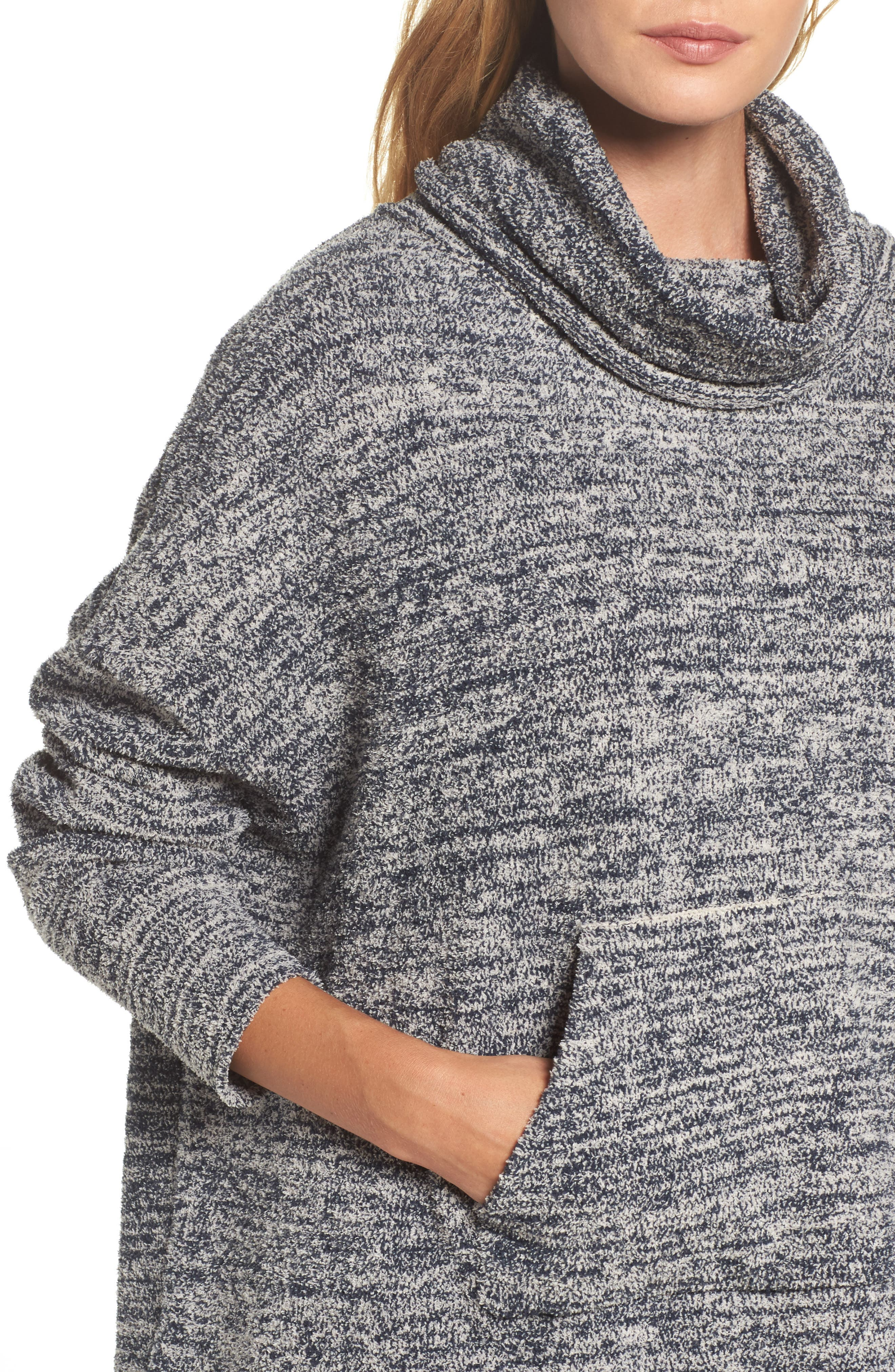 BAREFOOT DREAMS<SUP>®</SUP>, Cozychic<sup>®</sup> Lounge Pullover, Alternate thumbnail 4, color, INDIGO/ STONE HEATHERED