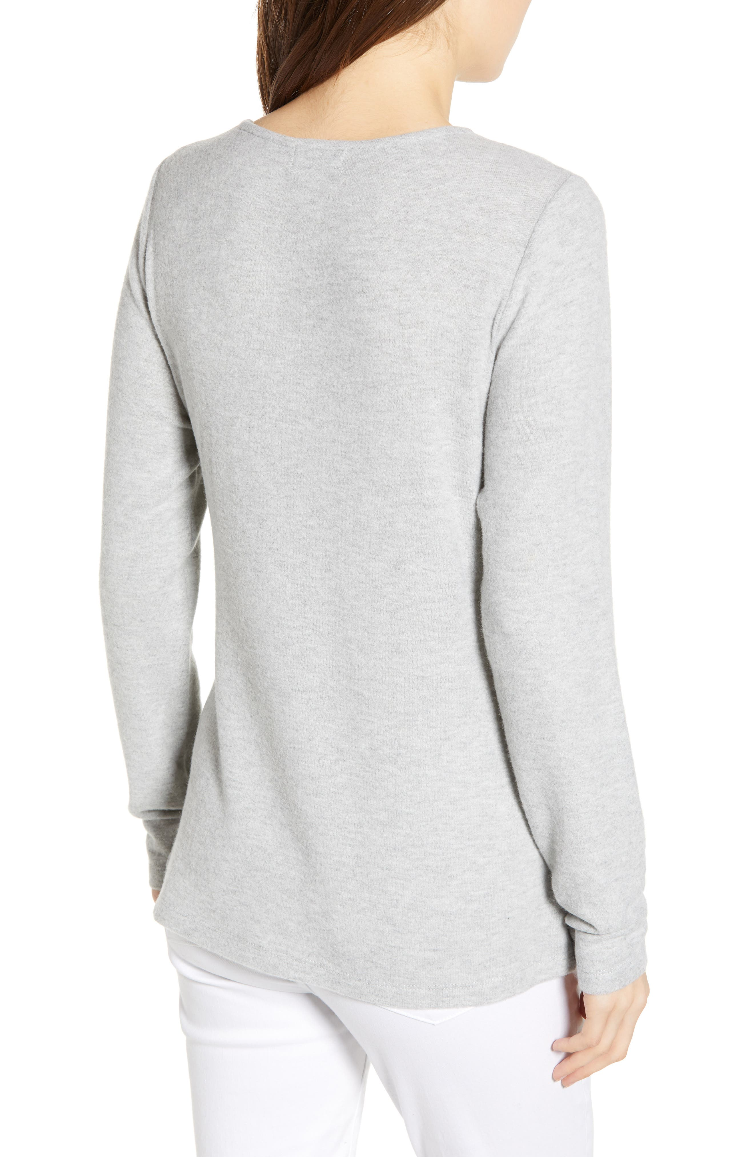 SOCIALITE, Tie Front Top, Alternate thumbnail 2, color, HEATHER GREY