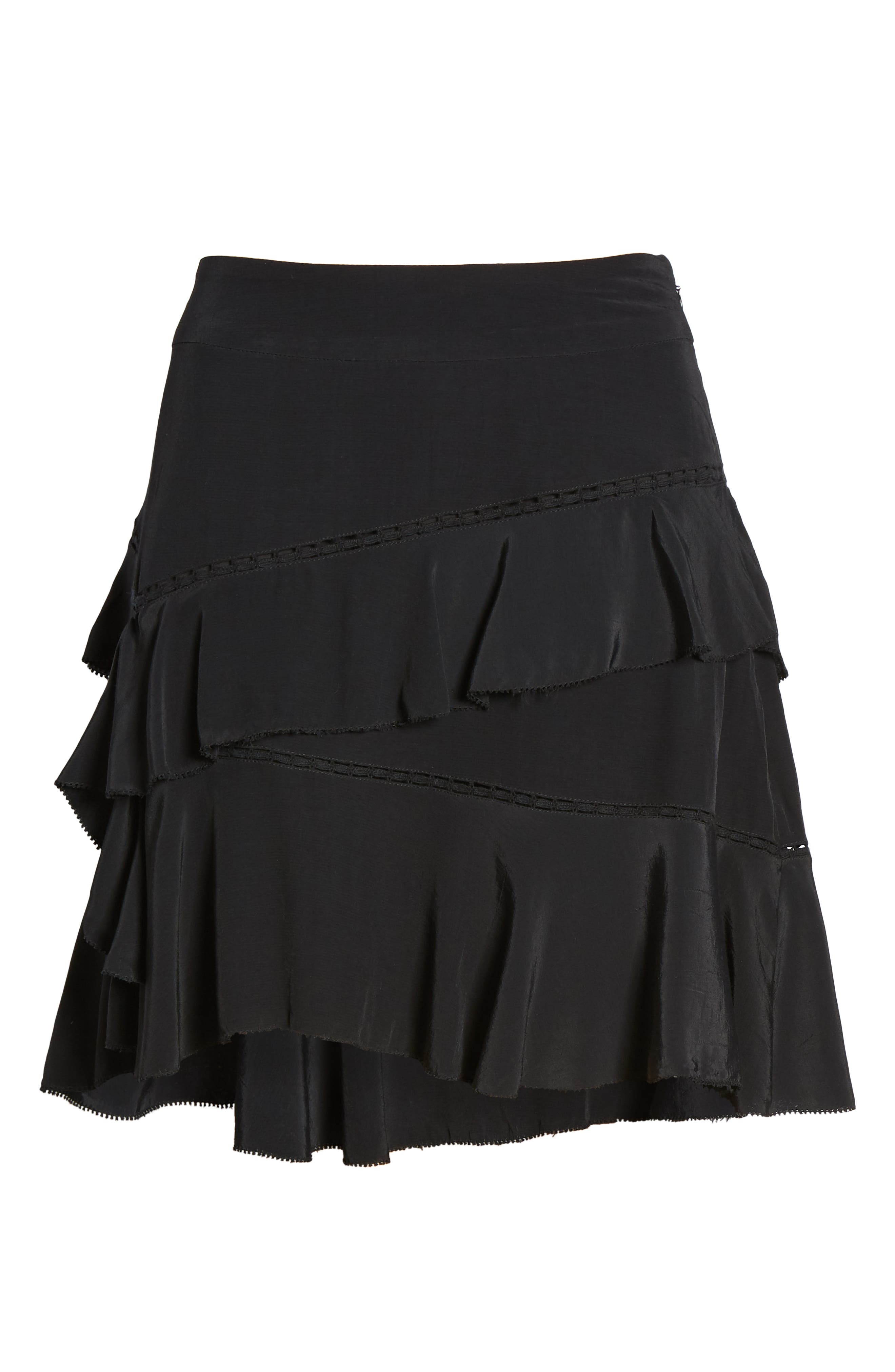 SOMETHING NAVY, Tiered Ruffle High/Low Miniskirt, Alternate thumbnail 8, color, BLACK
