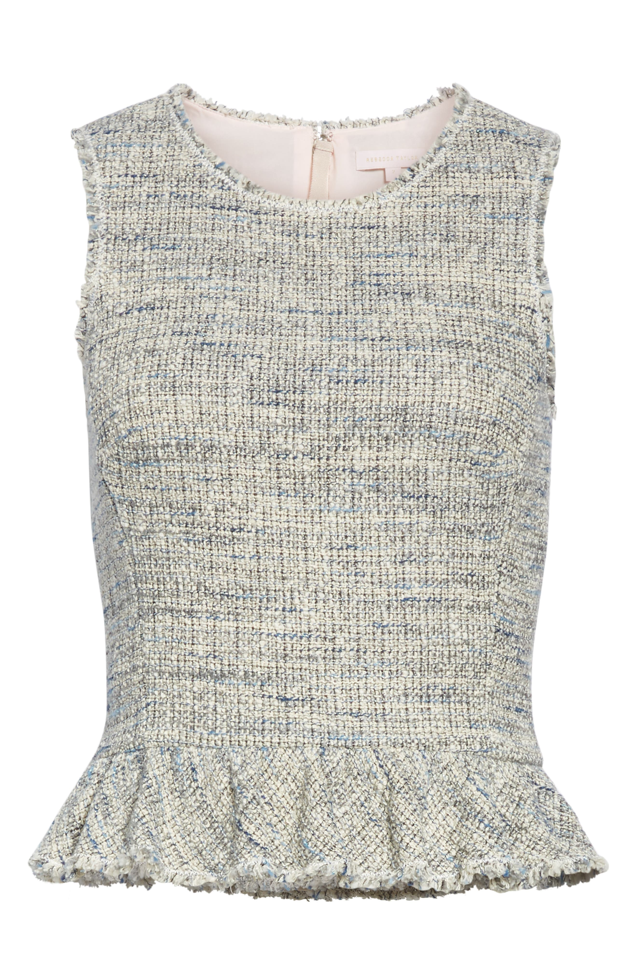 REBECCA TAYLOR, Sleeveless Tweed Peplum Top, Alternate thumbnail 6, color, BLUE/ GREY COMBO