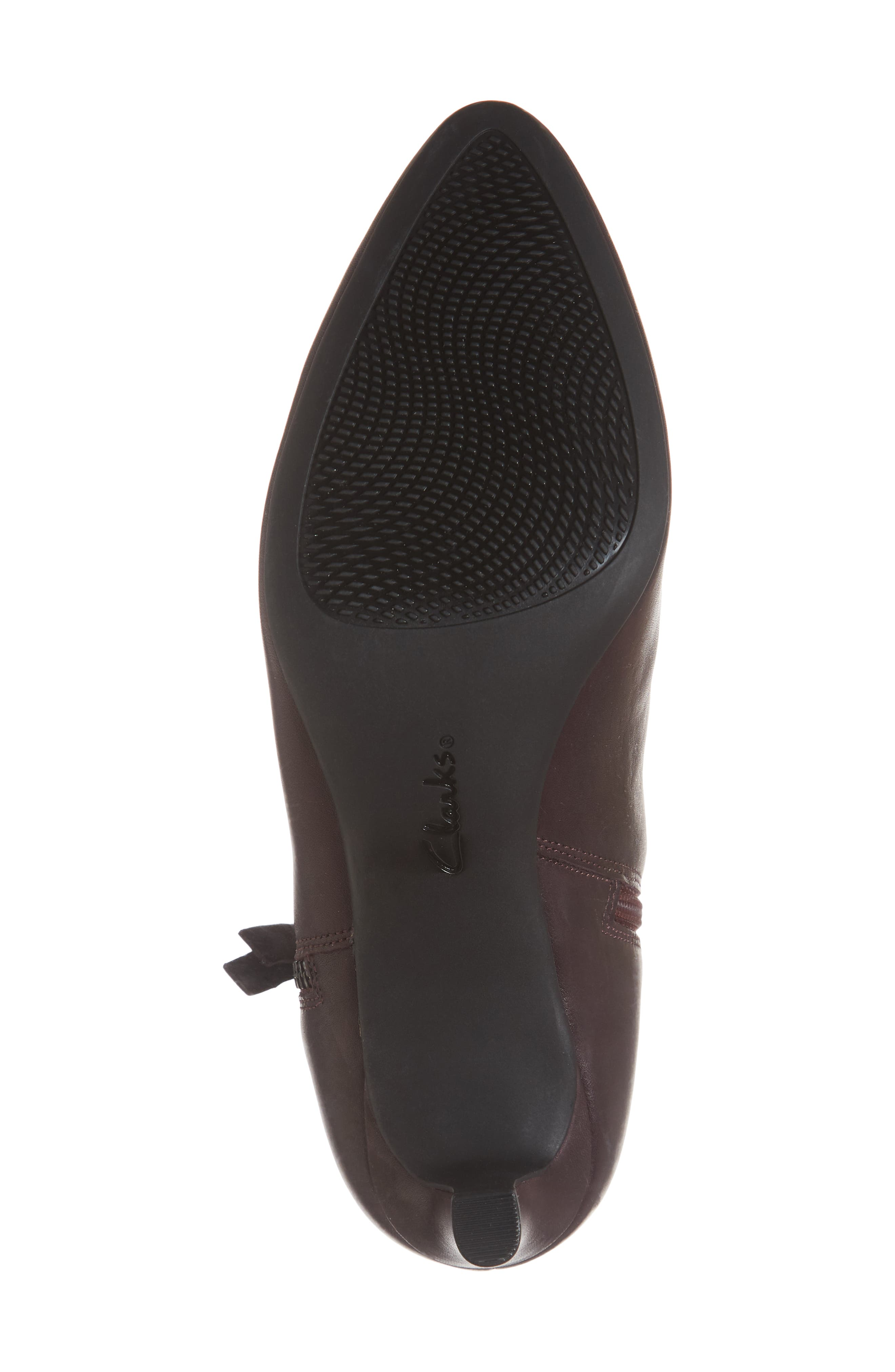CLARKS<SUP>®</SUP>, Calla Blossom Bootie, Alternate thumbnail 6, color, RED LEATHER