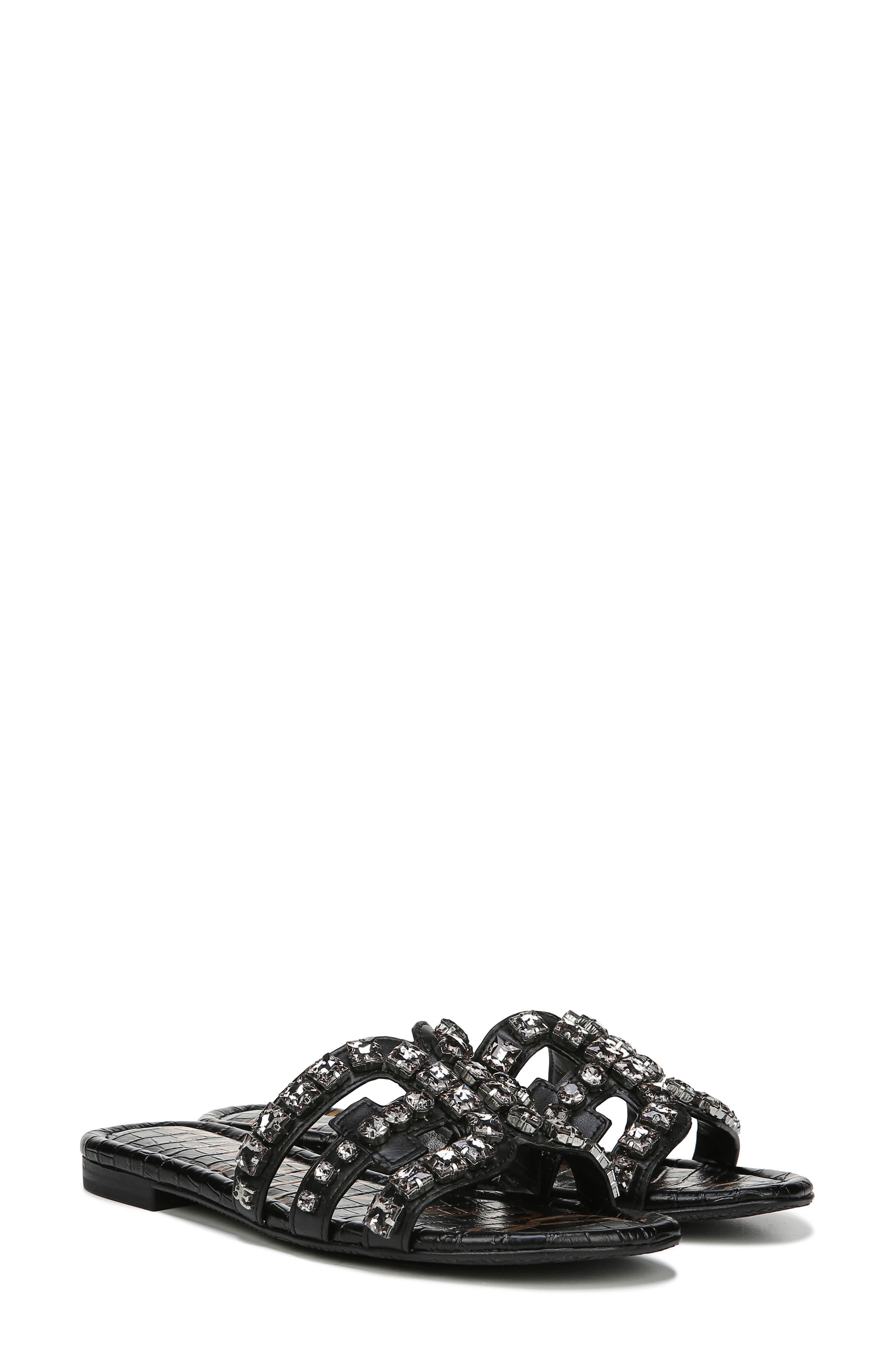SAM EDELMAN, Bay 2 Embellished Slide Sandal, Alternate thumbnail 8, color, BLACK NAPPA LEATHER