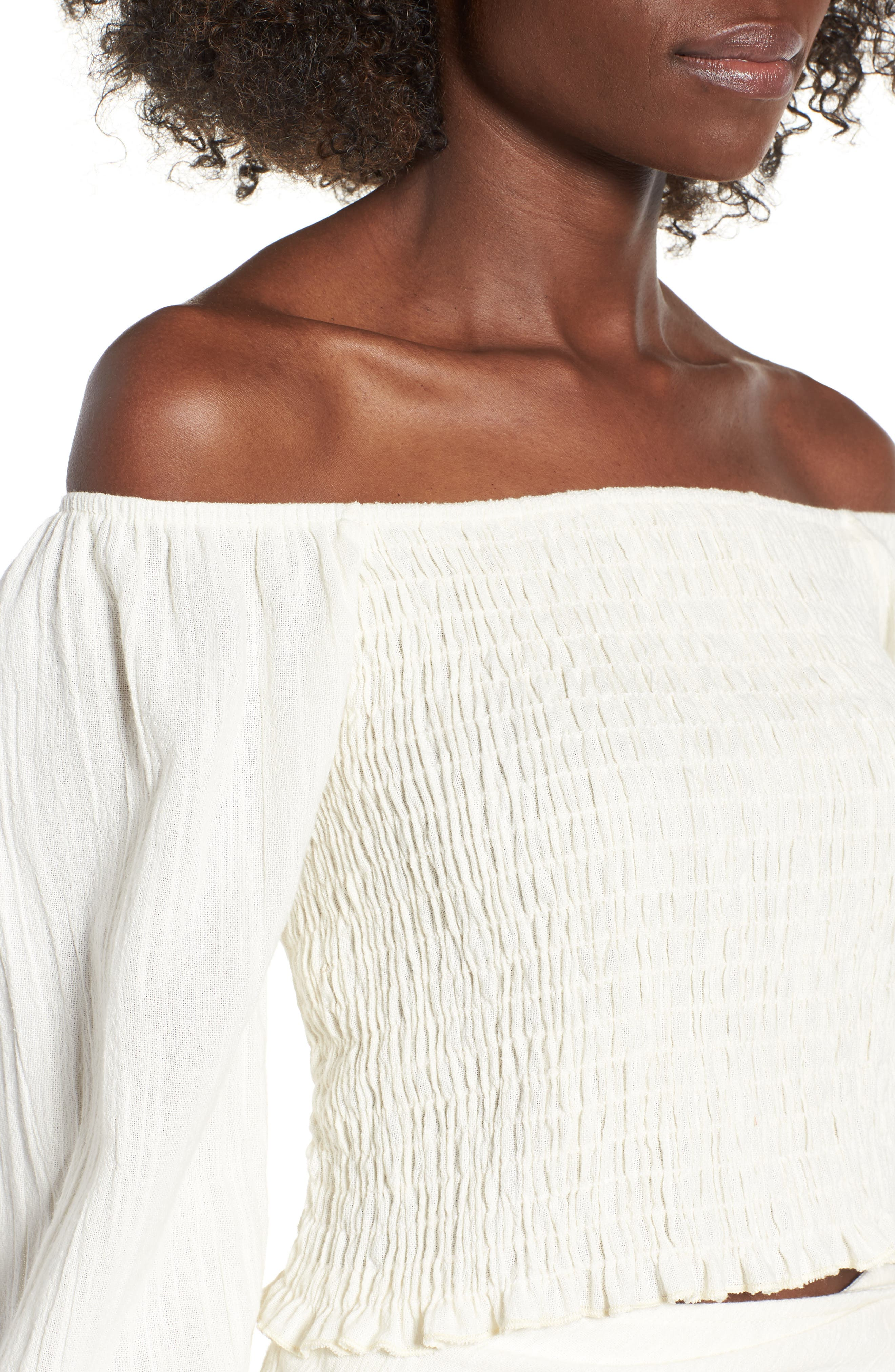 4SI3NNA, Smocked Off the Shoulder Top, Alternate thumbnail 4, color, 900