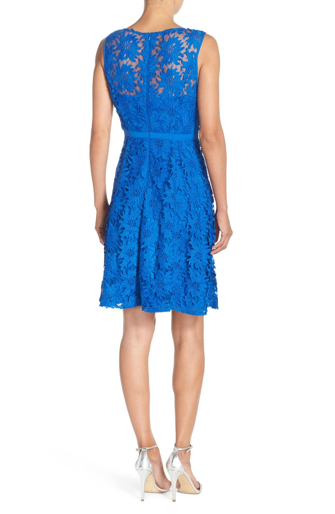 ADRIANNA PAPELL, Illusion Floral Lace Fit & Flare Dress, Alternate thumbnail 3, color, 433