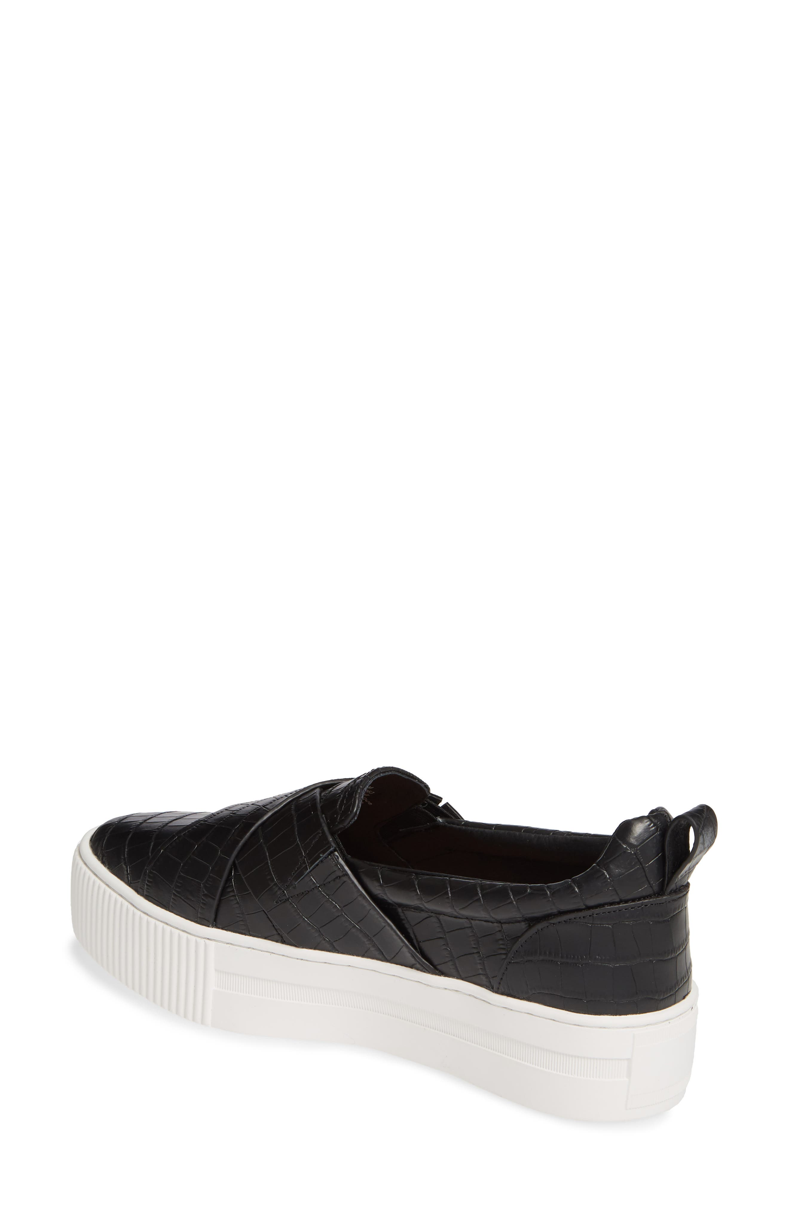 HALOGEN<SUP>®</SUP>, Blakely Slip-On Platform Sneaker, Alternate thumbnail 2, color, BLACK CROCO PRINTED LEATHER