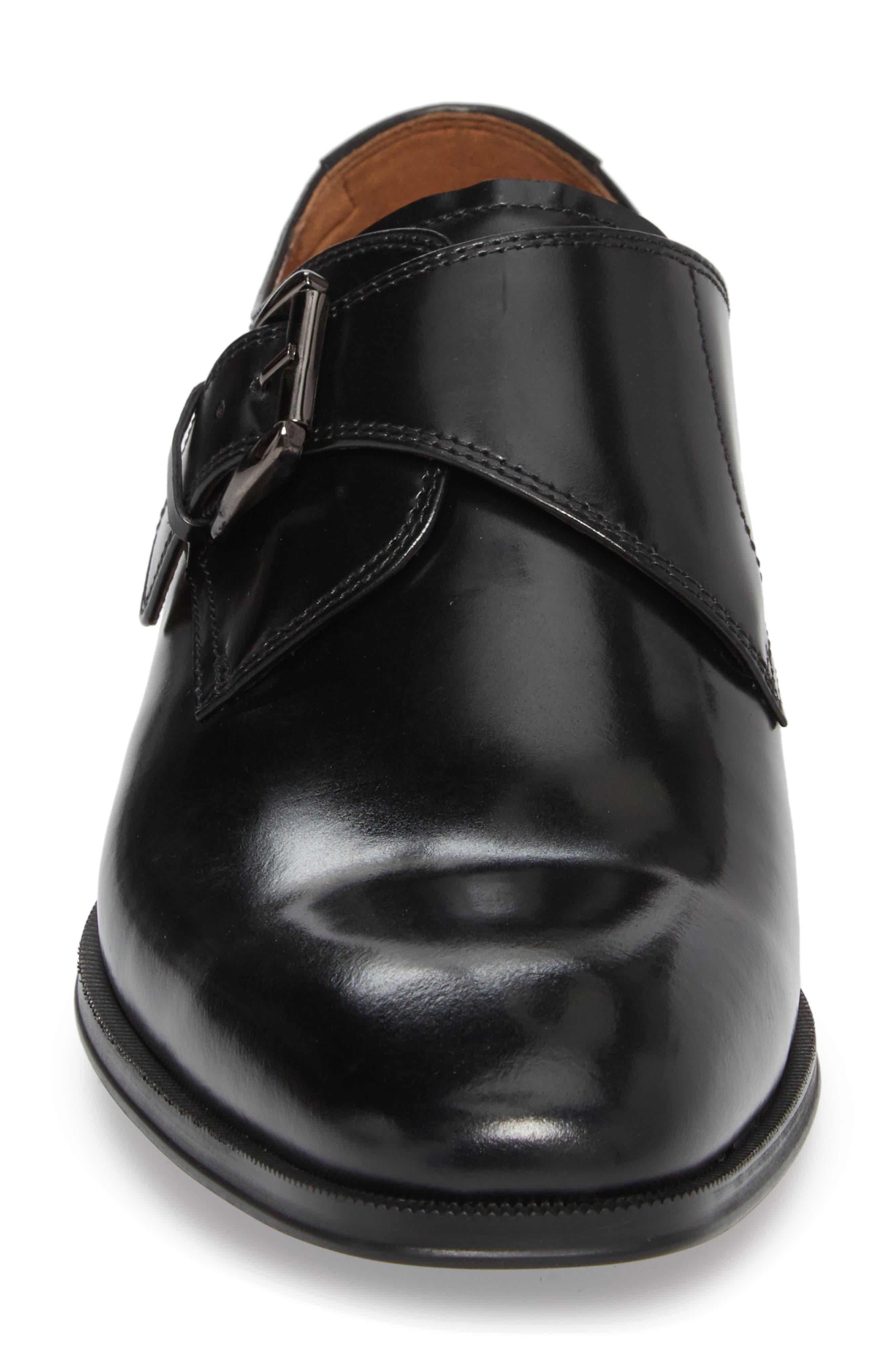FLORSHEIM, Belfast Single Strap Monk Shoe, Alternate thumbnail 4, color, BLACK LEATHER