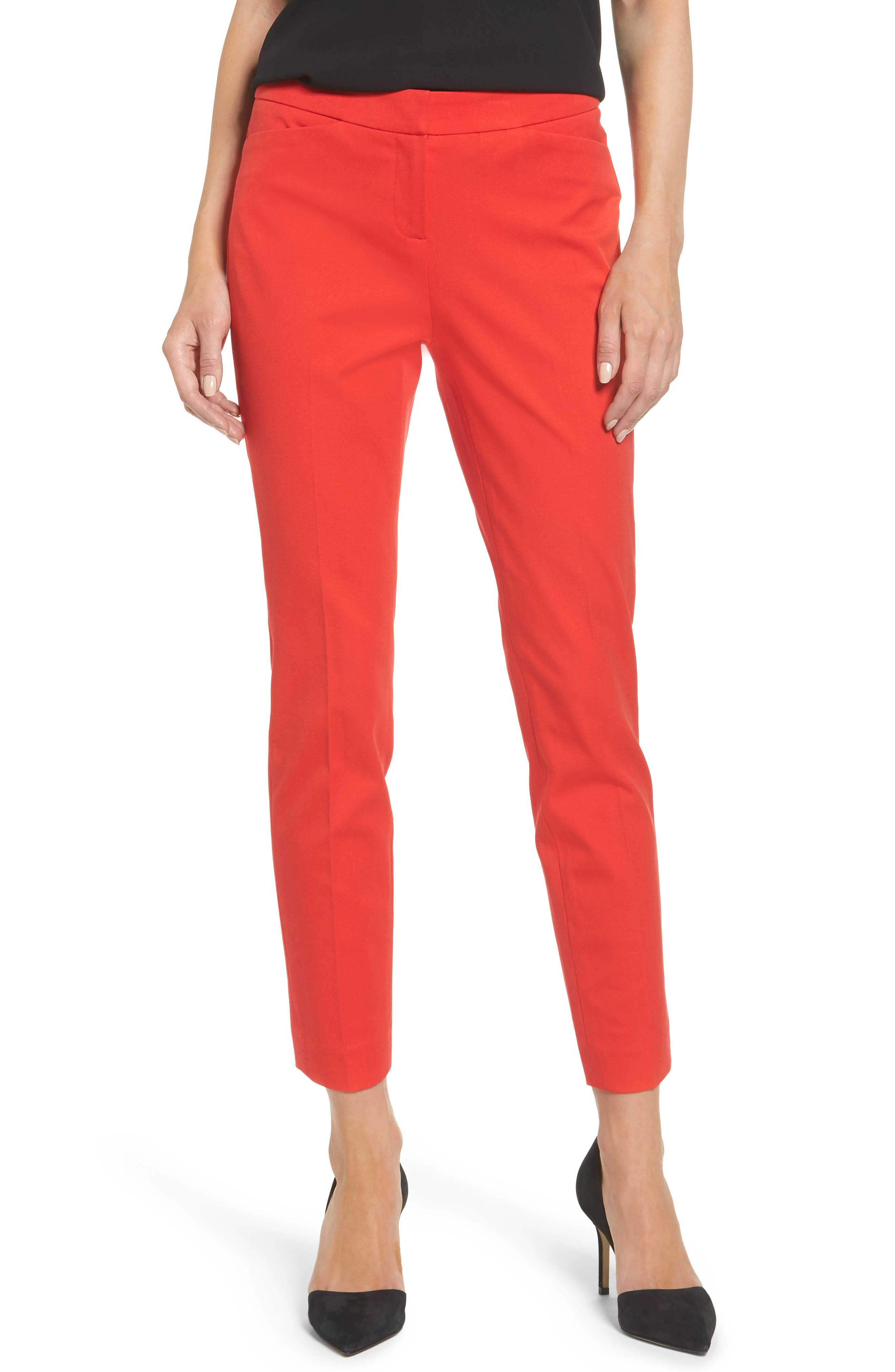 HALOGEN<SUP>®</SUP>, Ankle Pants, Main thumbnail 1, color, RED BLOOM