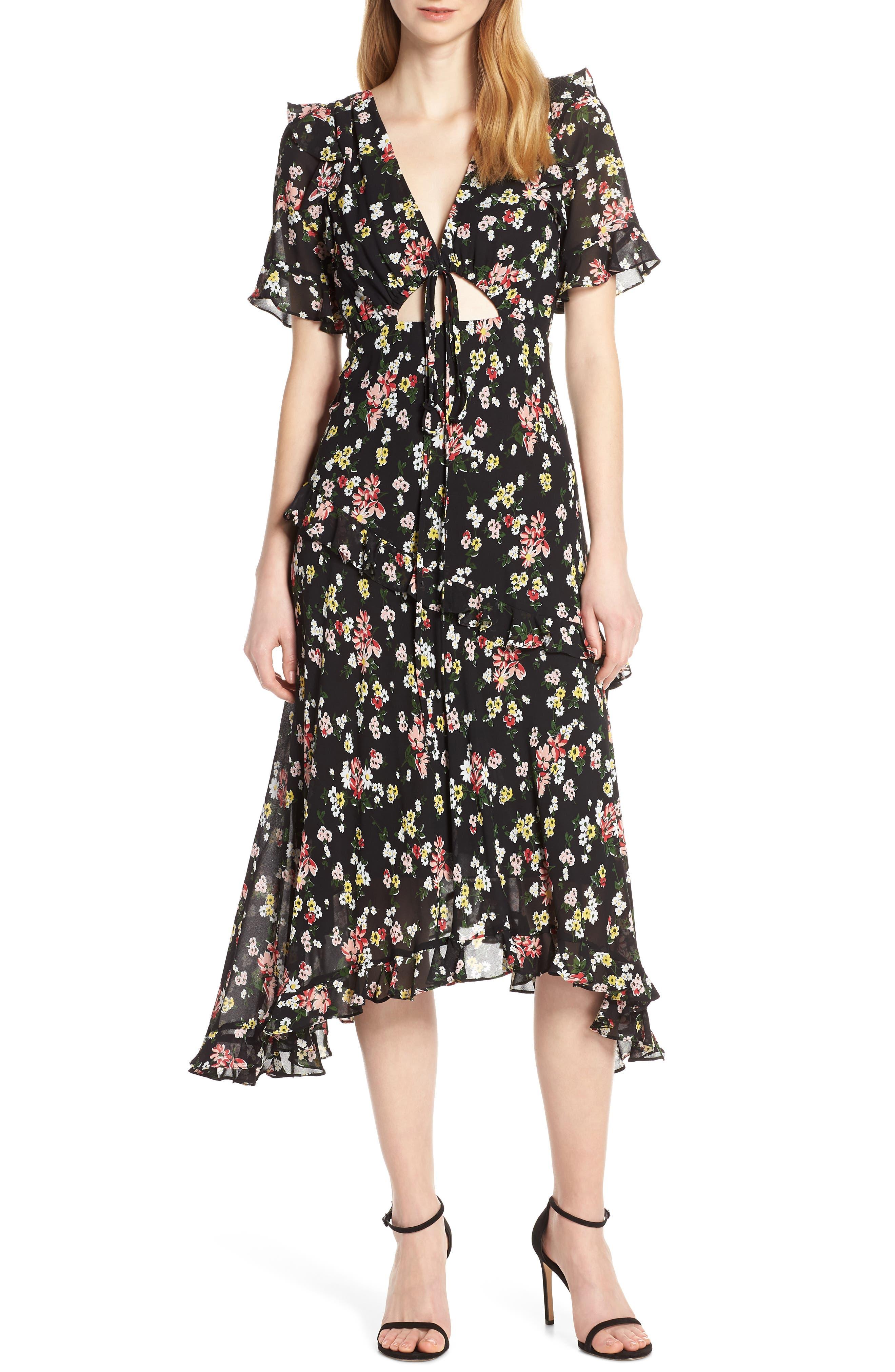Jill Jill Stuart Floral Georgette Dress, Black