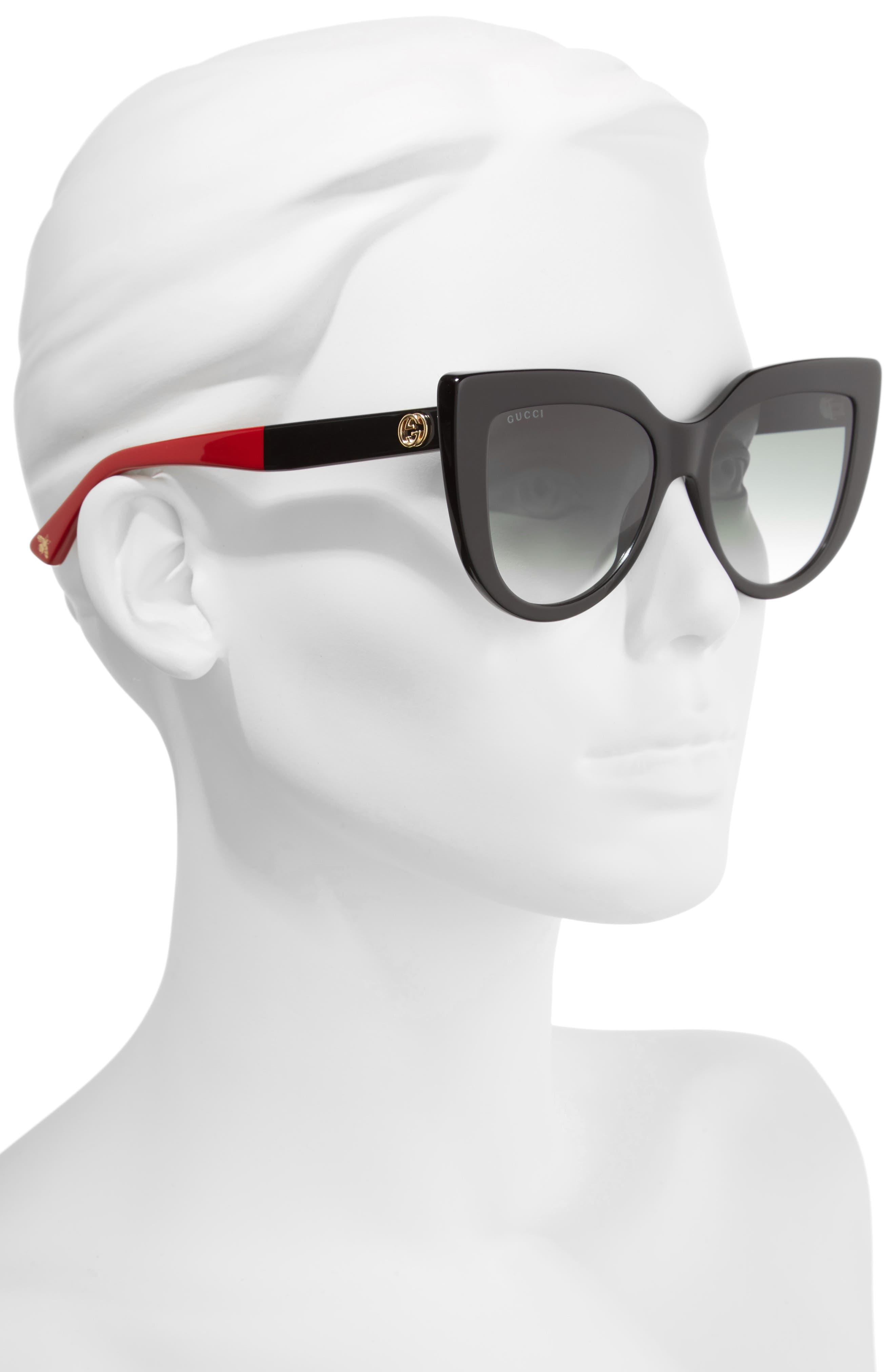 GUCCI, 53mm Cat Eye Sunglasses, Alternate thumbnail 2, color, BLACK