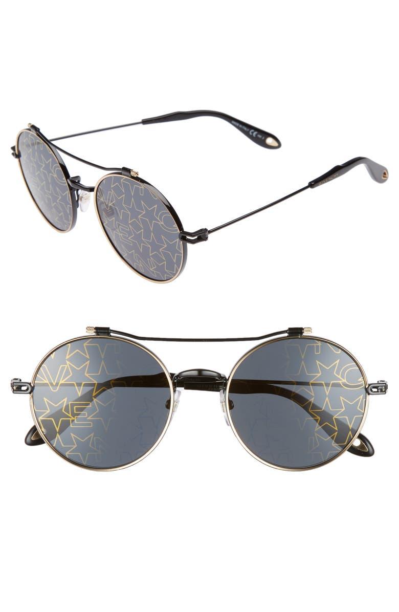 109e313339a6 GIVENCHY 53mm Round Aviator Sunglasses, Main, color, 001