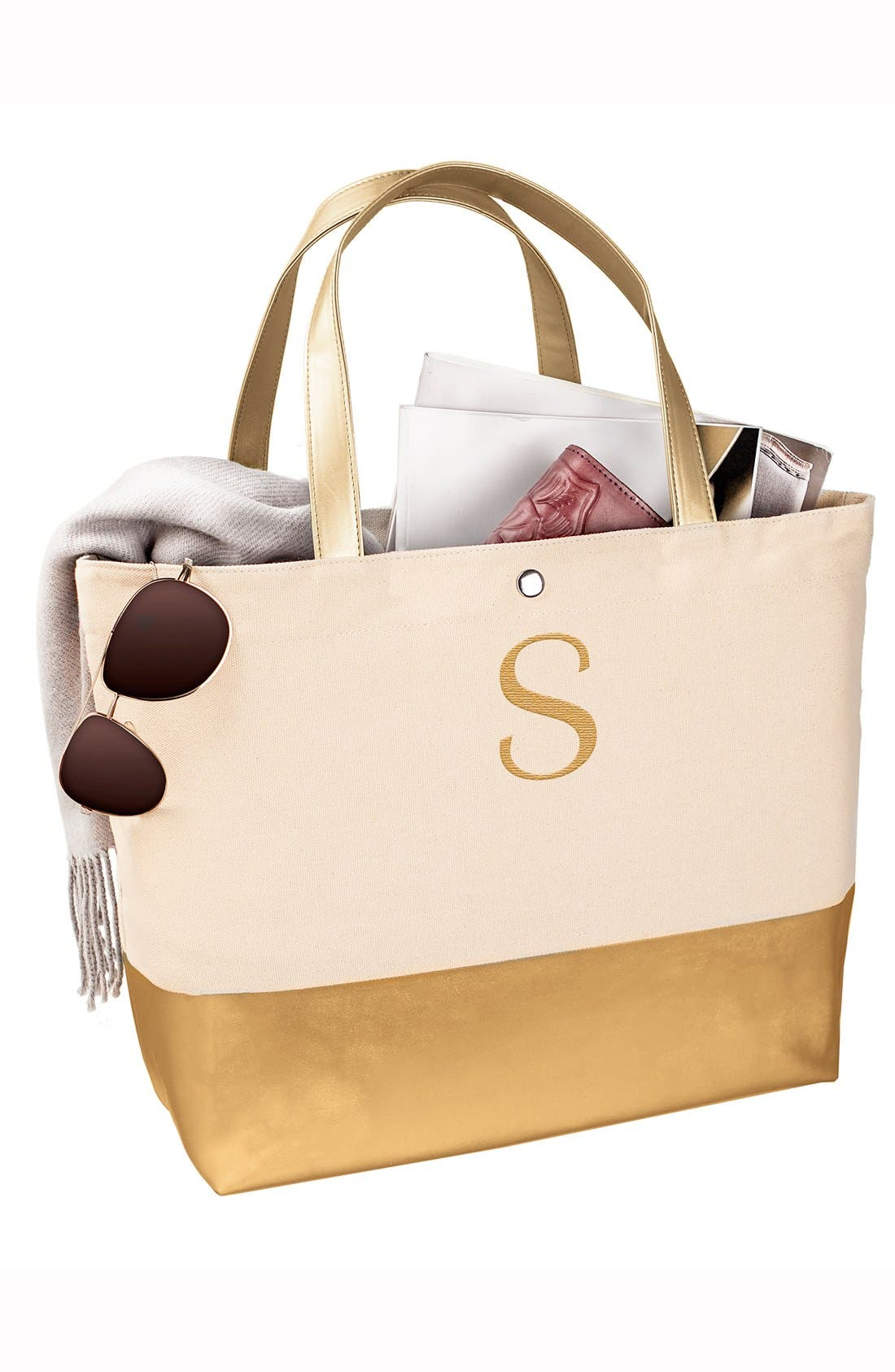 CATHY'S CONCEPTS, Monogram Canvas Tote, Alternate thumbnail 4, color, GOLD