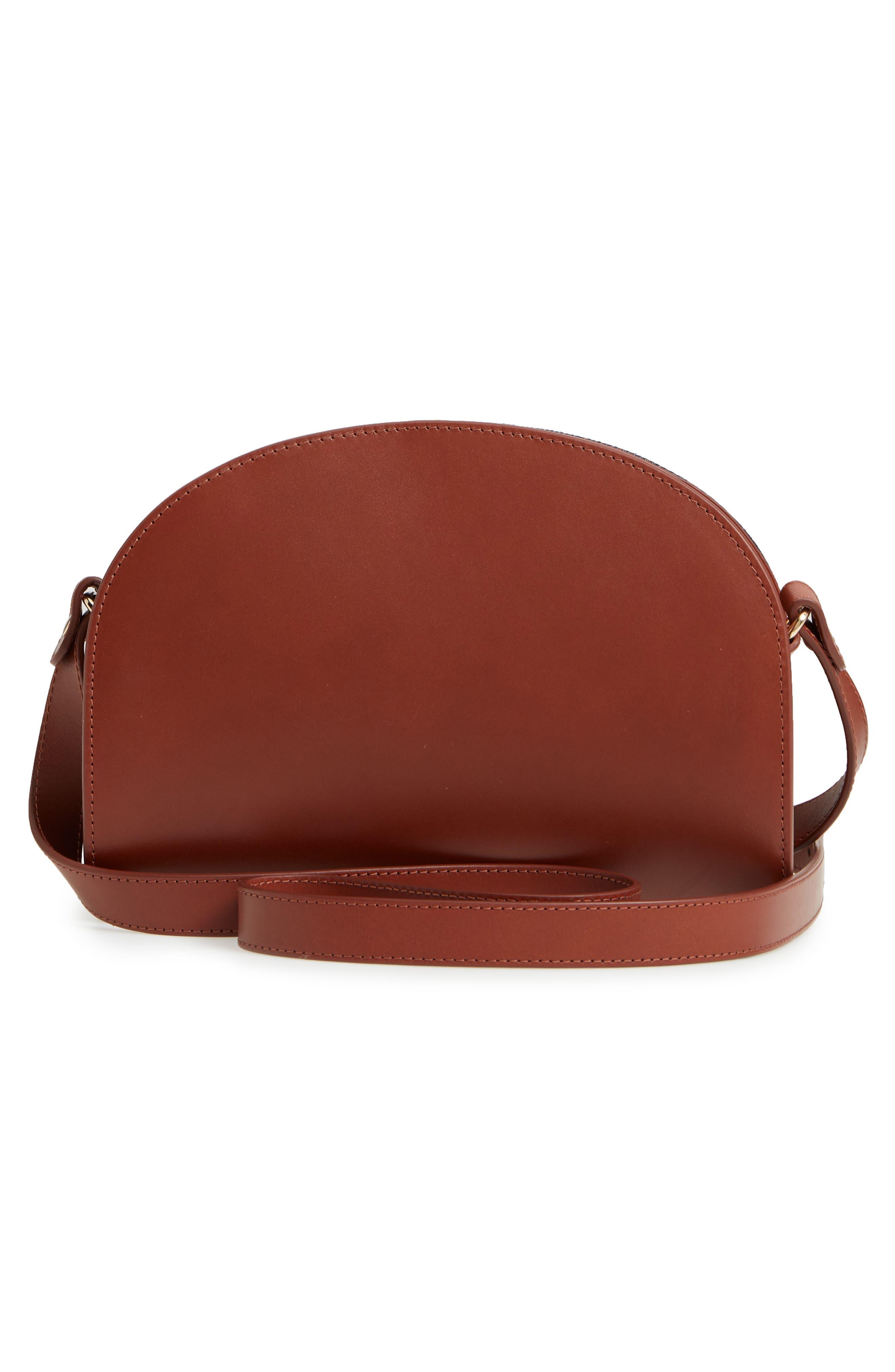 A.P.C., Sac Demilune Leather & Denim Crossbody Bag, Alternate thumbnail 3, color, 242