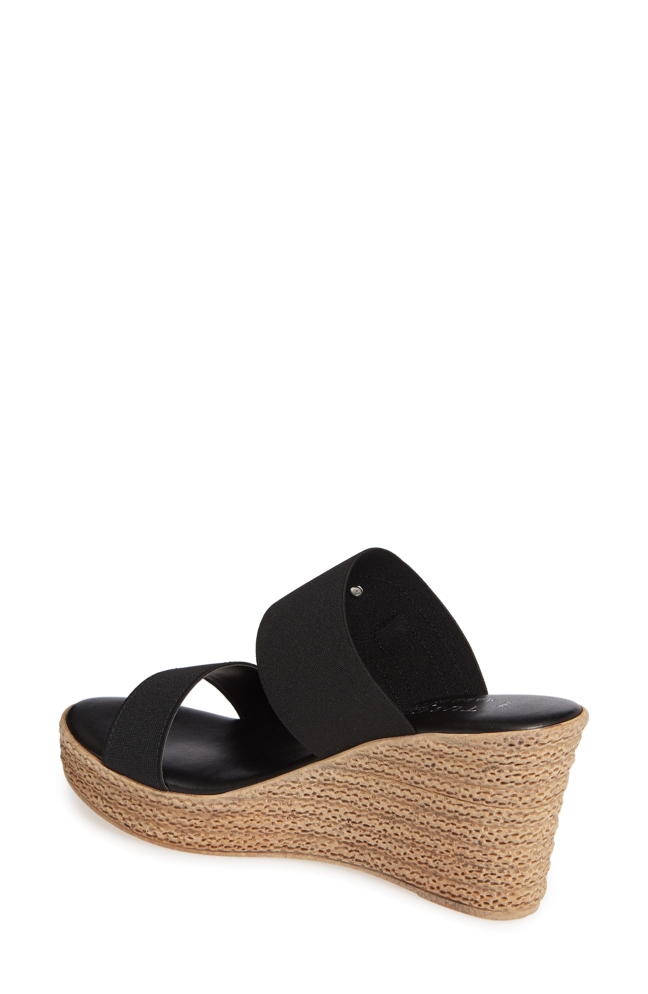 TUSCANY BY EASY STREET<SUP>®</SUP>, Marisole Platform Wedge Sandal, Alternate thumbnail 2, color, BLACK LEATHER
