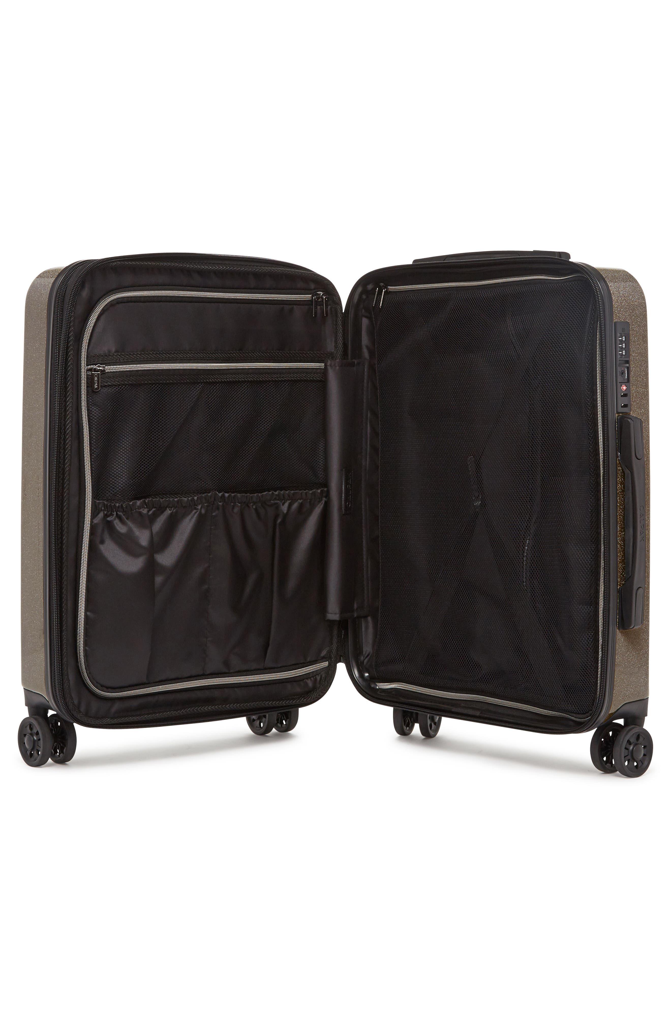 CALPAK, Medora Glitter 20-Inch Hardshell Spinner Carry-On Suitcase, Alternate thumbnail 2, color, ECLIPSE