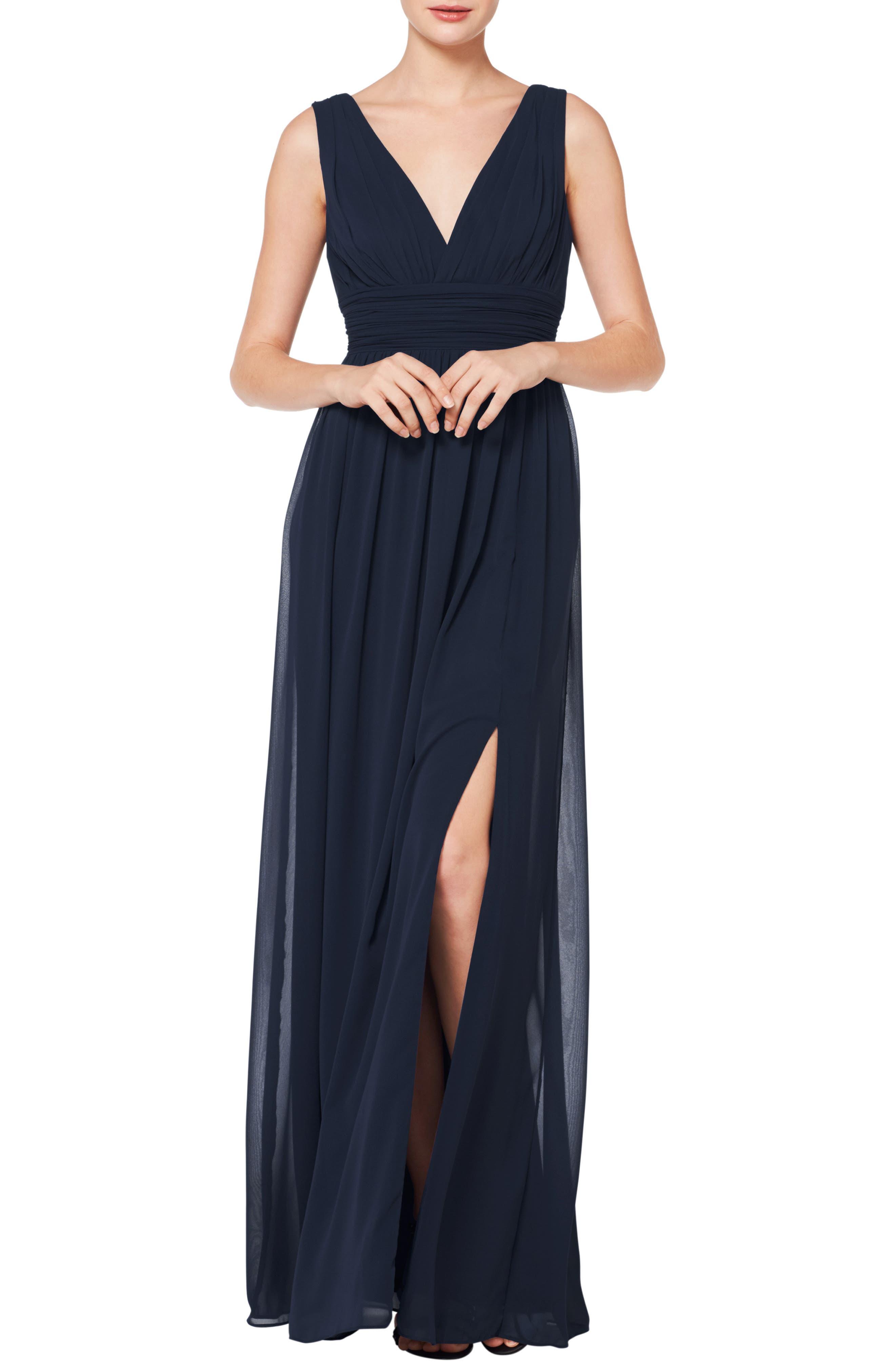#LEVKOFF V-Neck Pleated Chiffon Evening Dress, Main, color, NAVY
