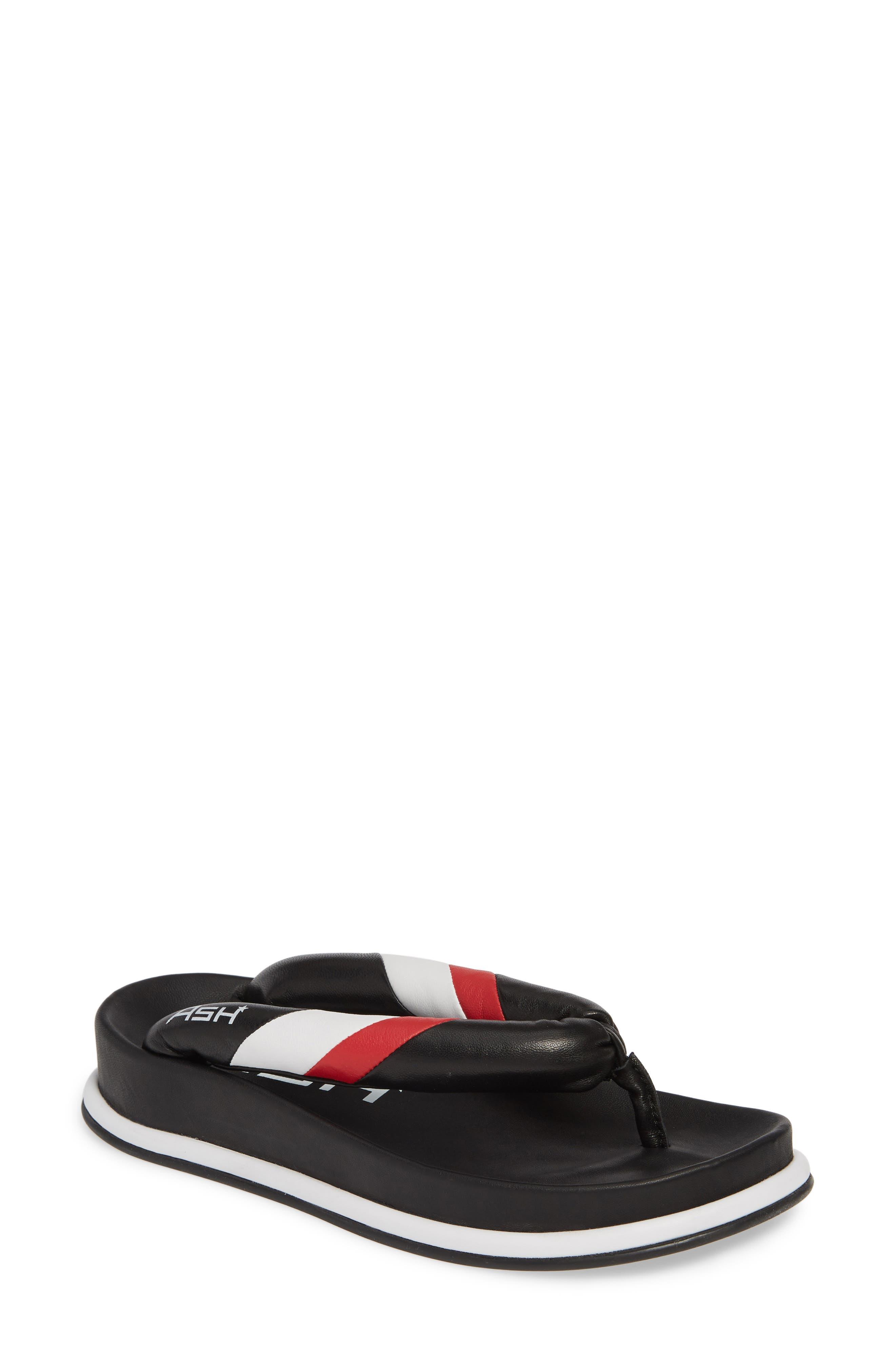 ASH Tonic Stripe Logo Flip Flop, Main, color, BLACK