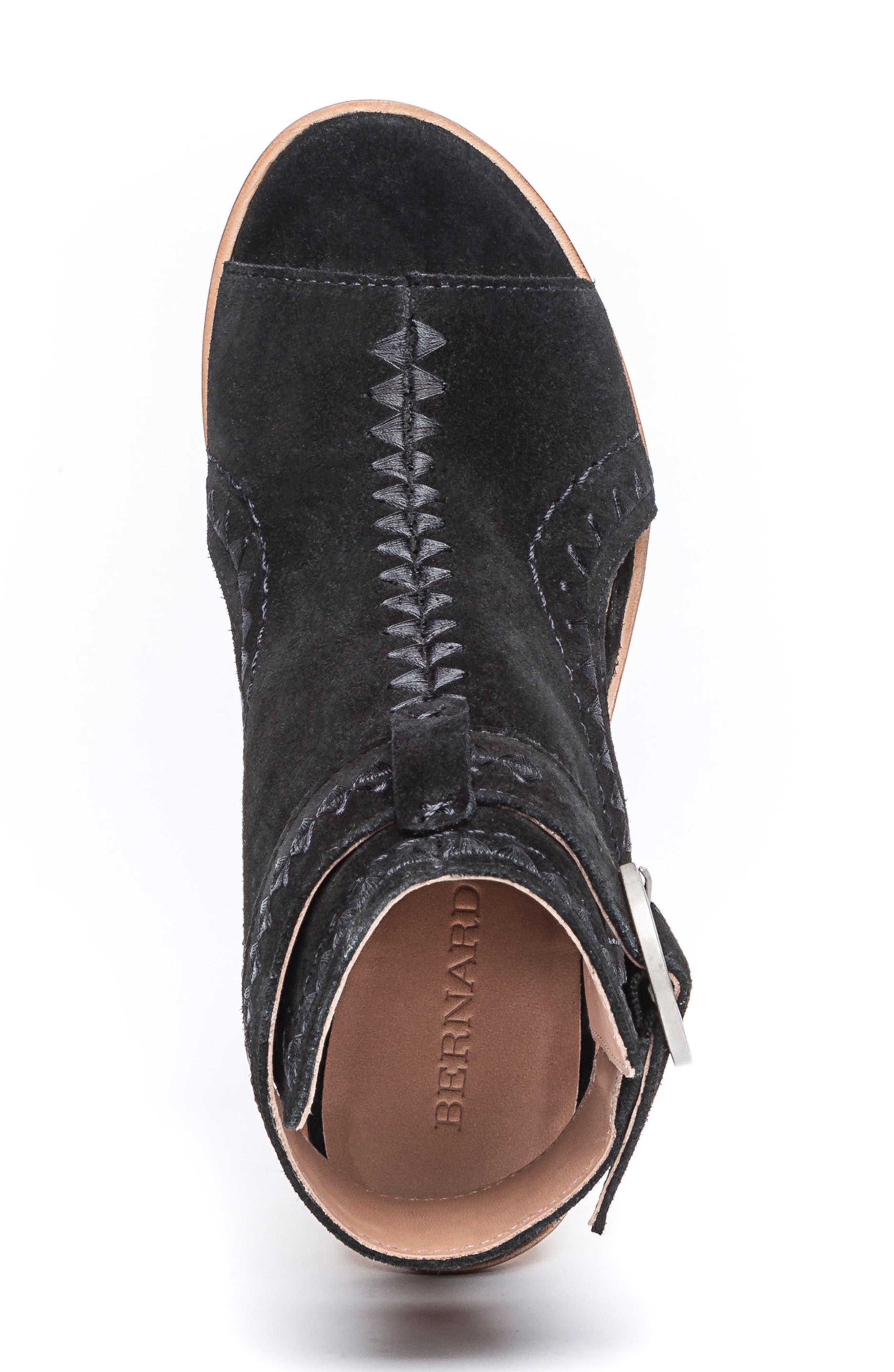BERNARDO, Harper Embroidered Sandal, Alternate thumbnail 5, color, BLACK LEATHER