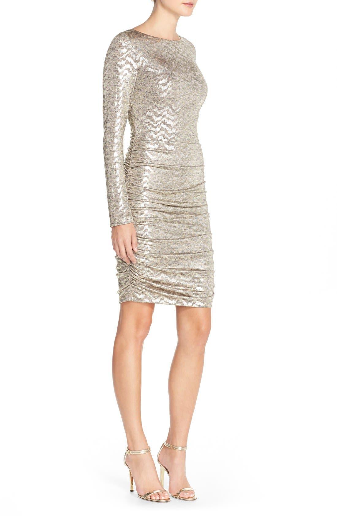 VINCE CAMUTO, Metallic Jersey Body-Con Dress, Alternate thumbnail 4, color, 710