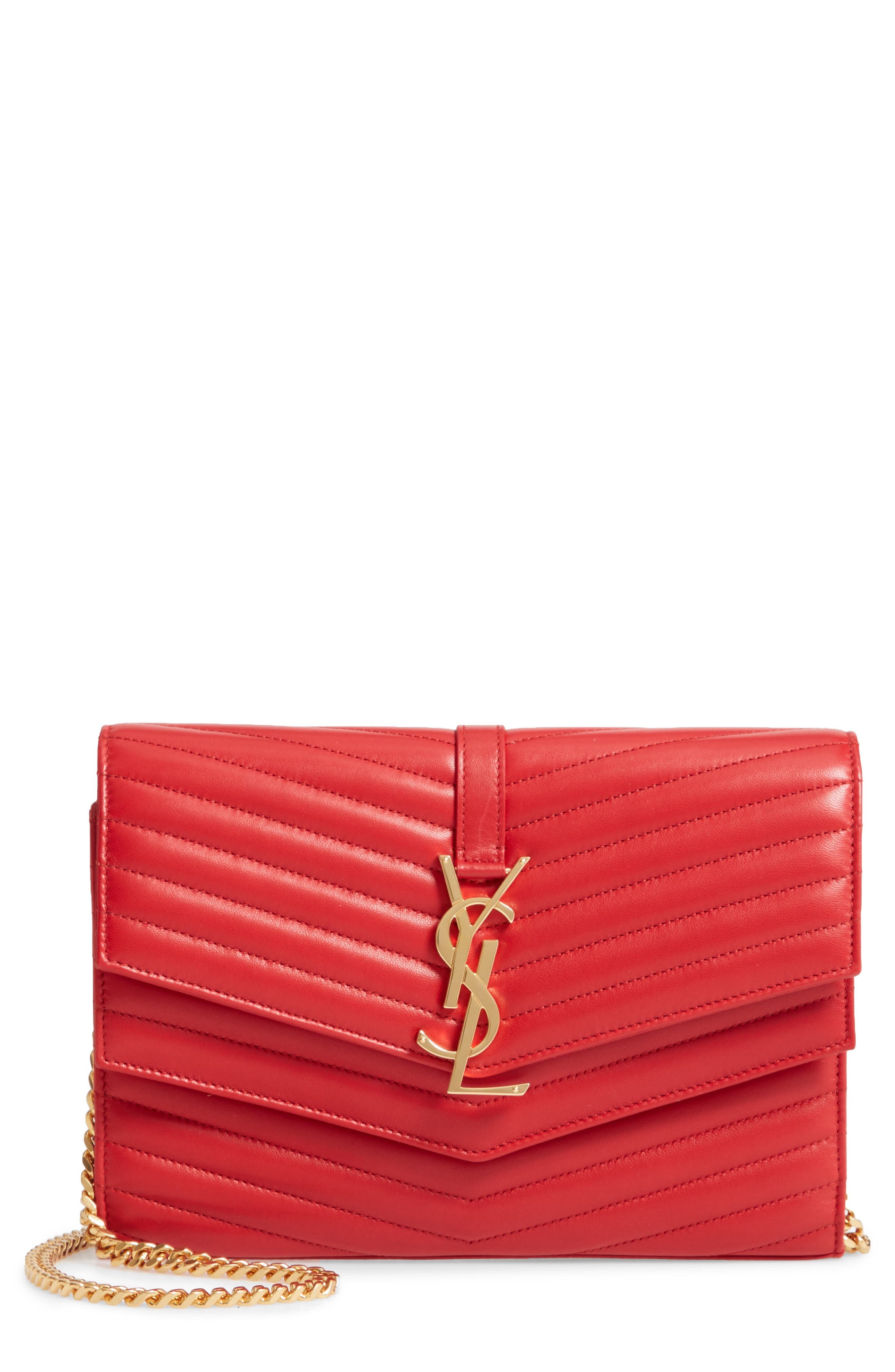 SAINT LAURENT, Sulpice Leather Crossbody Wallet, Main thumbnail 1, color, BANDANA RED